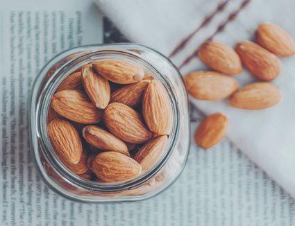Almonds in a glass jar