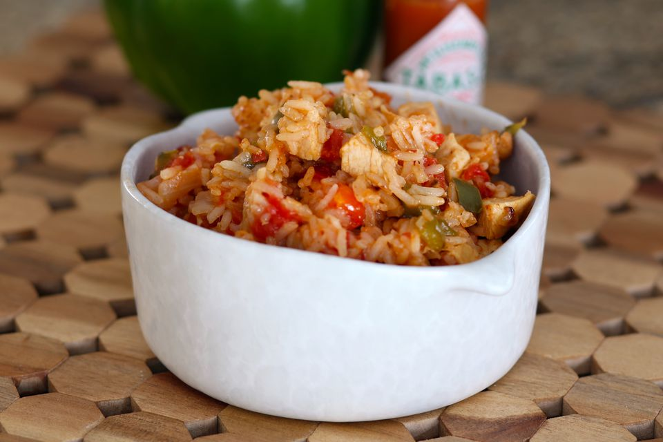 jambalaya in white bowl