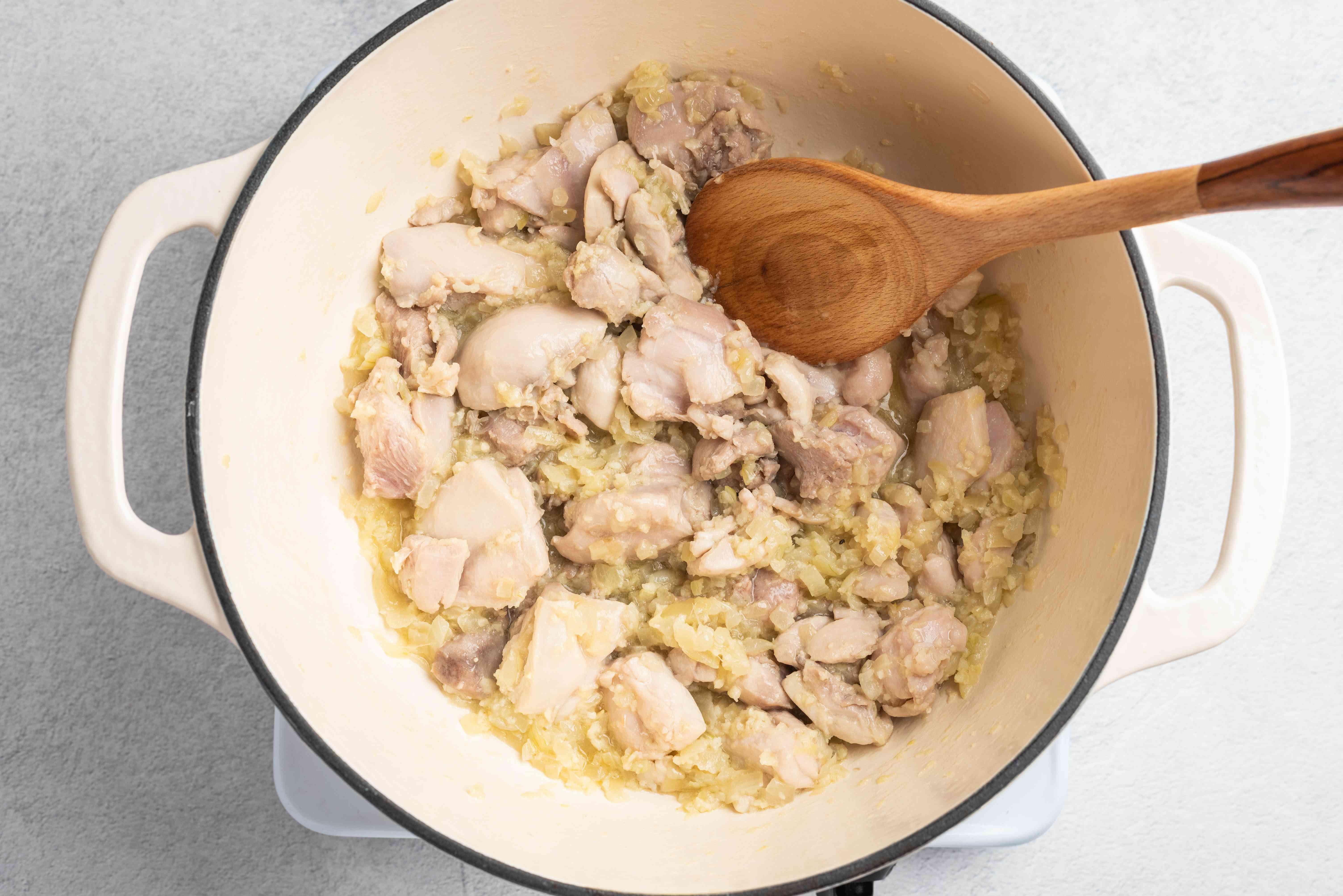 Add chicken chunks