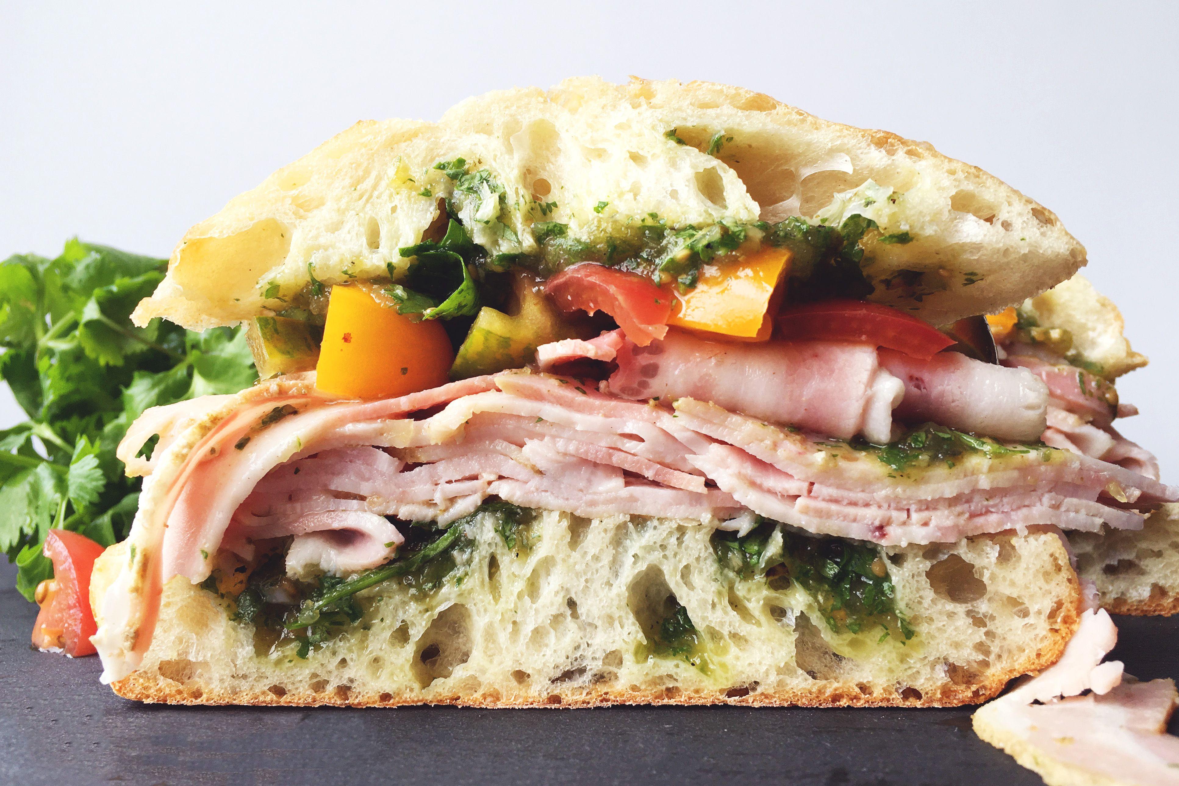 porchetta sandwich with salsa verde