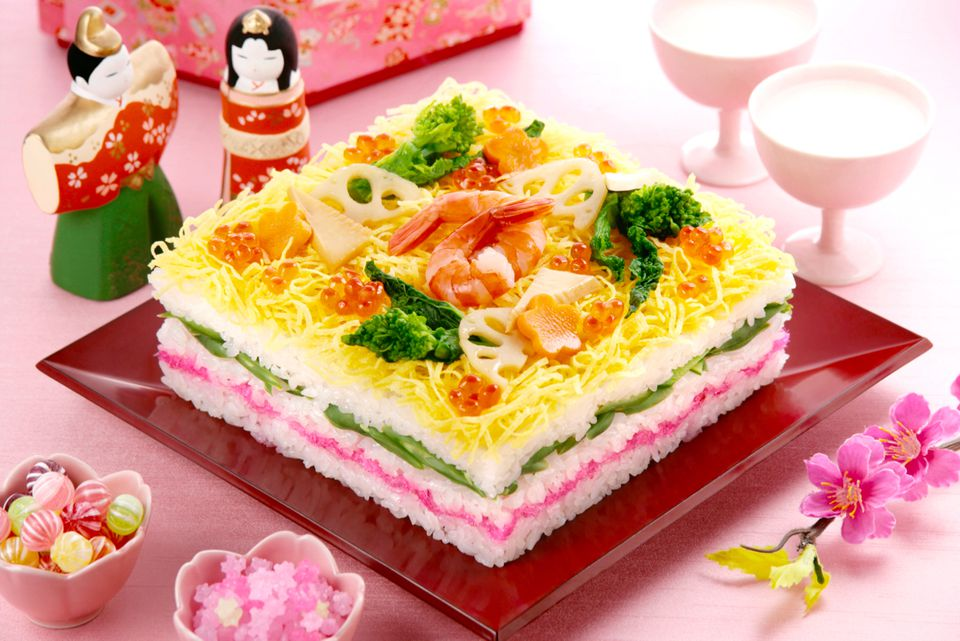 Layered Chirashi Sushi for Hinamatsuri (Girl's Day)