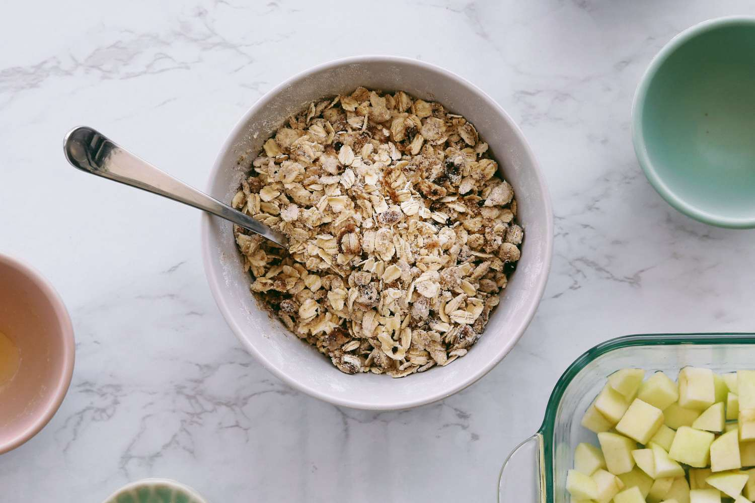 crumble topping mixed in a bowl