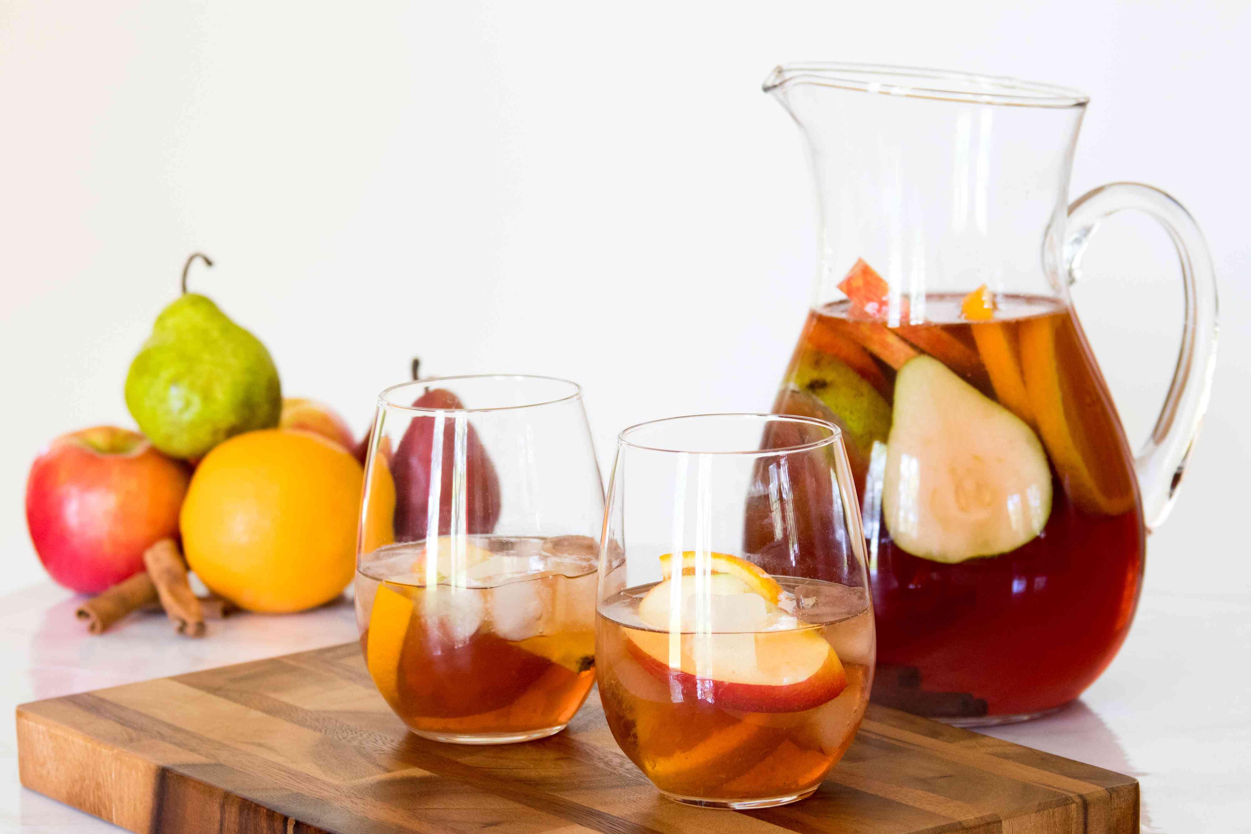 Autumn Sangria With White Wine, Pomegranate, and Green Tea