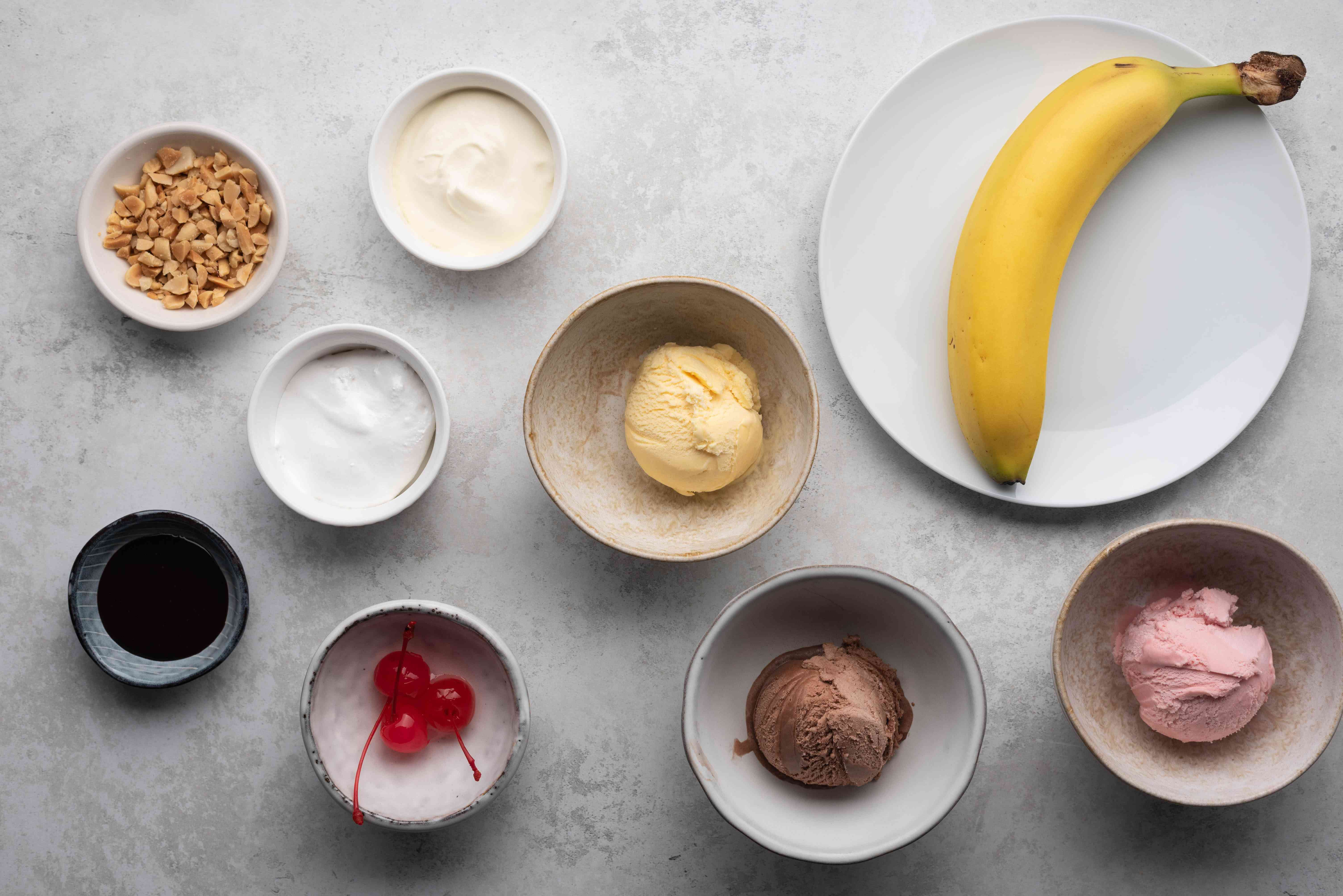 Ingredients for making a banana split