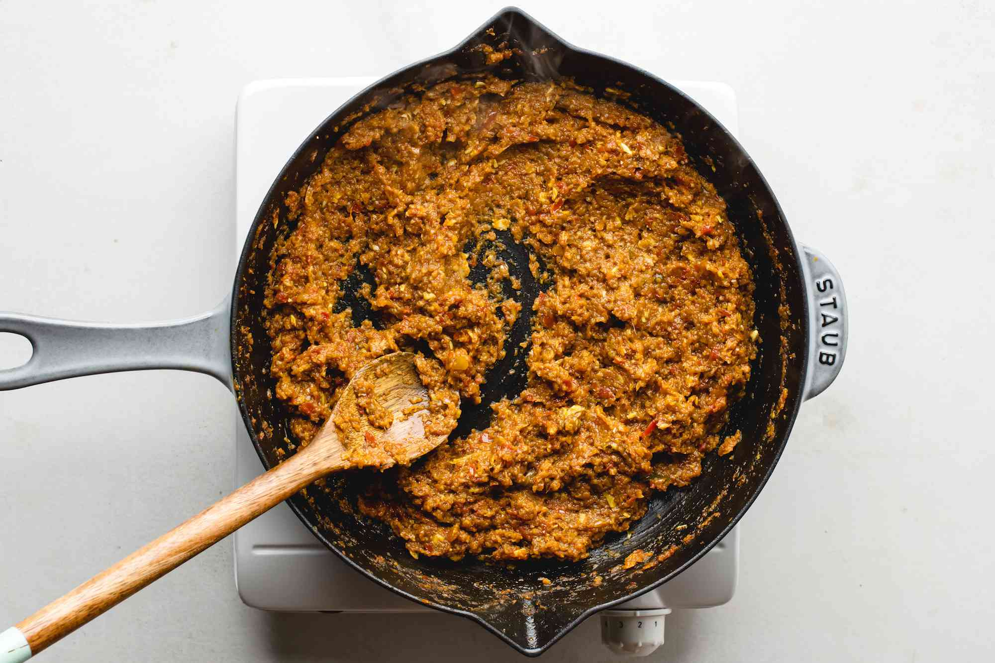 Sauce mixture cooking in a pan