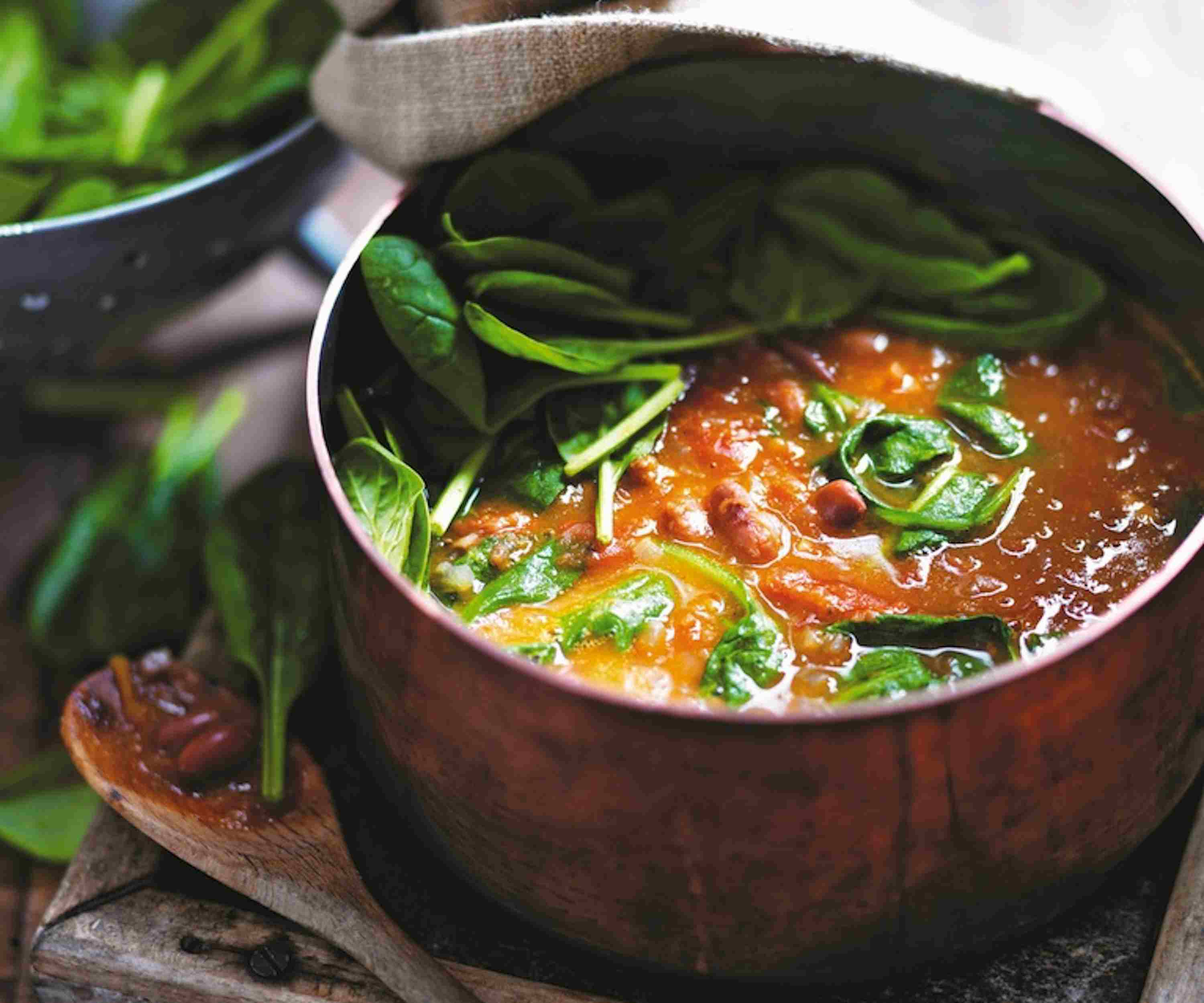 Borlotti Bean, Tomato and Spinach Soup Recipe
