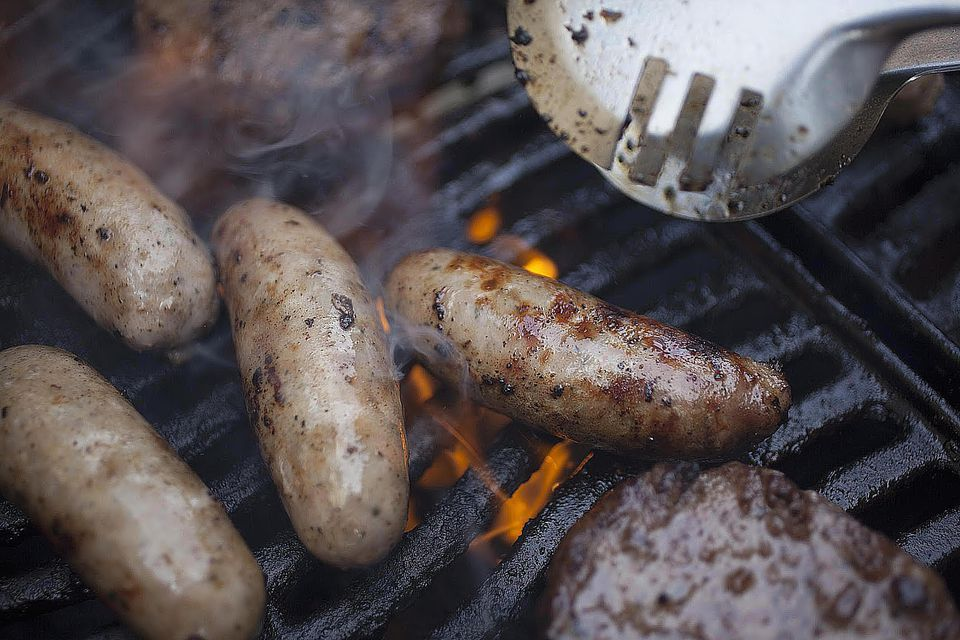 Sausages on a barbeque