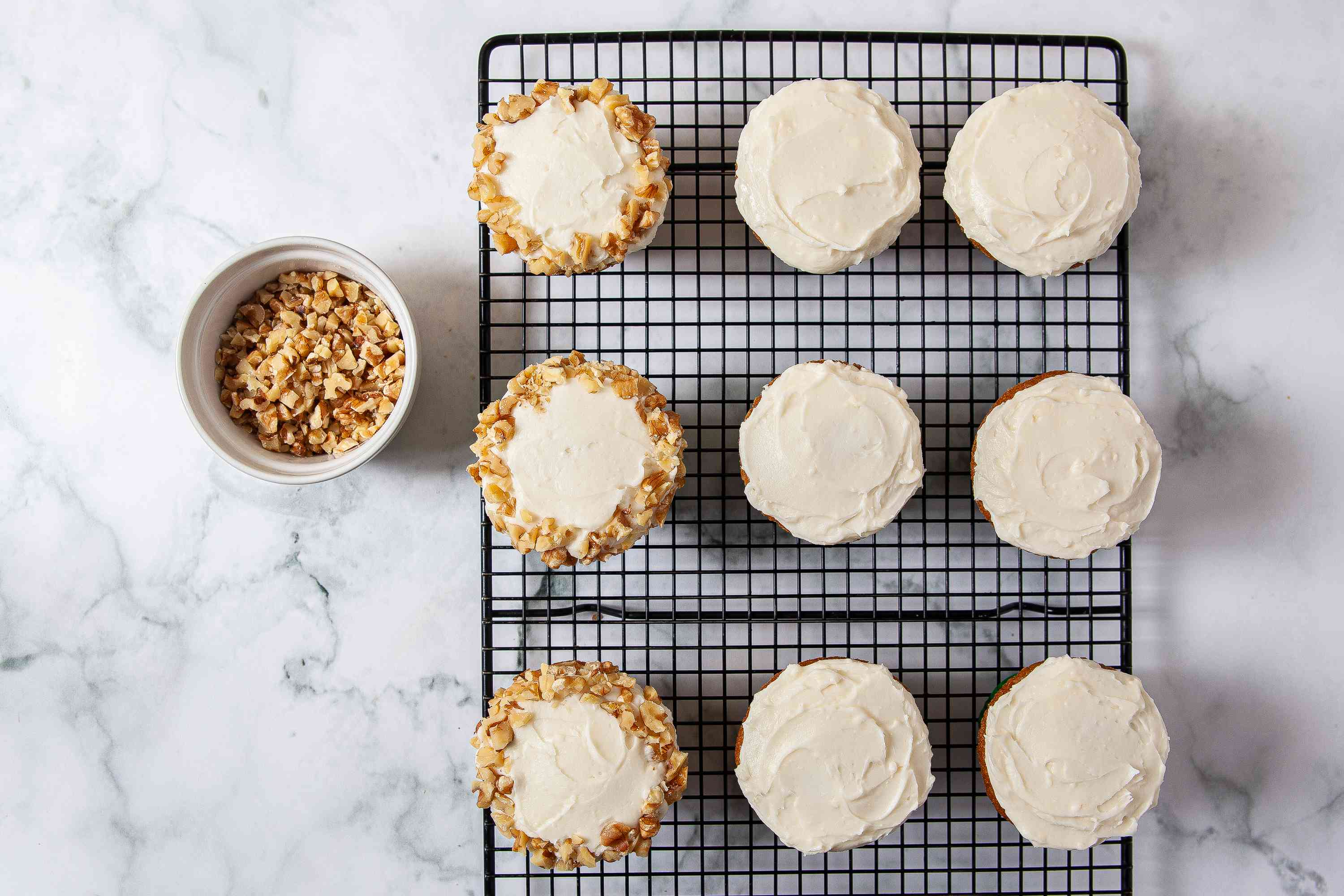 Frosted Carrot Cake Cupcakes with nuts