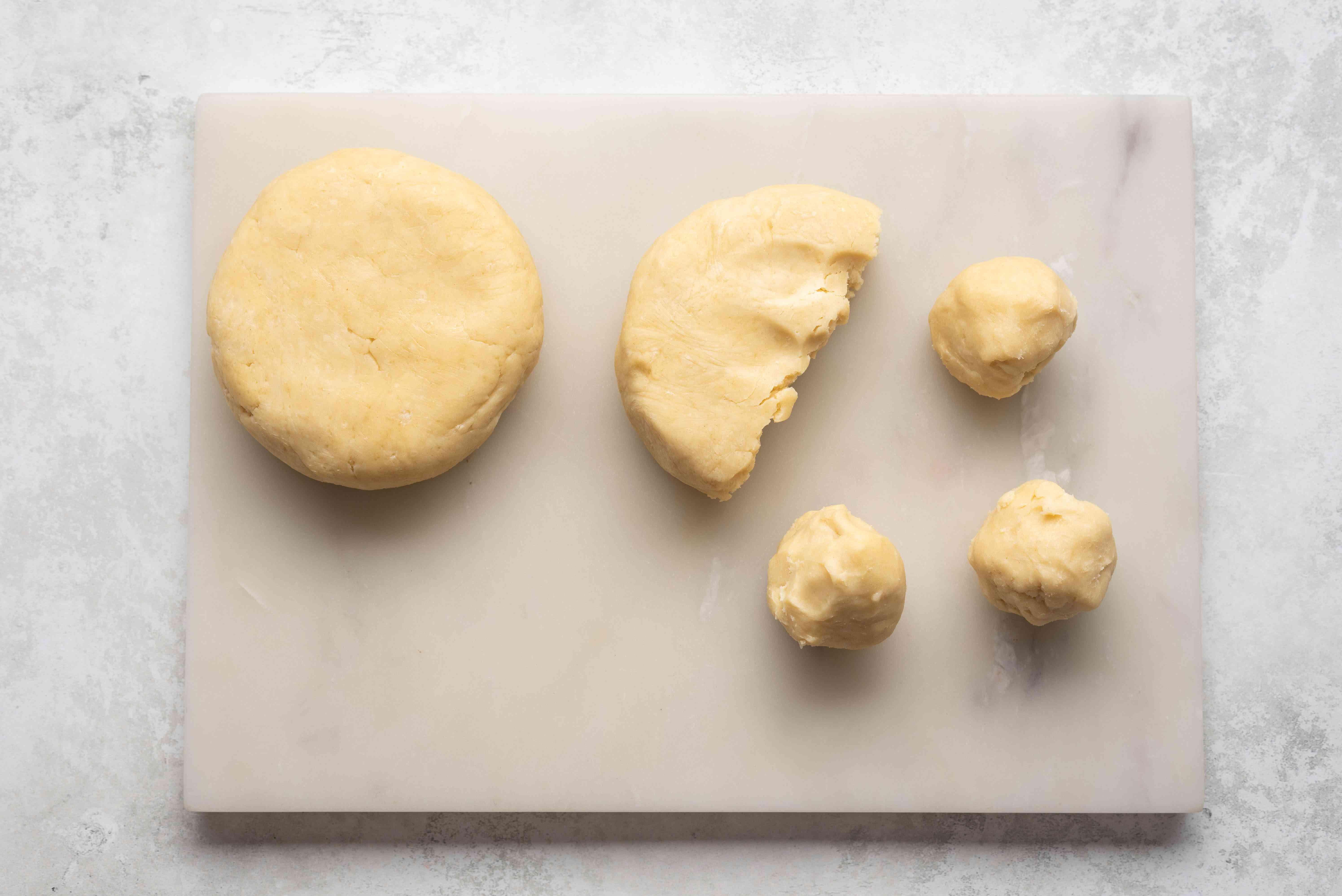 crust dough formed into balls