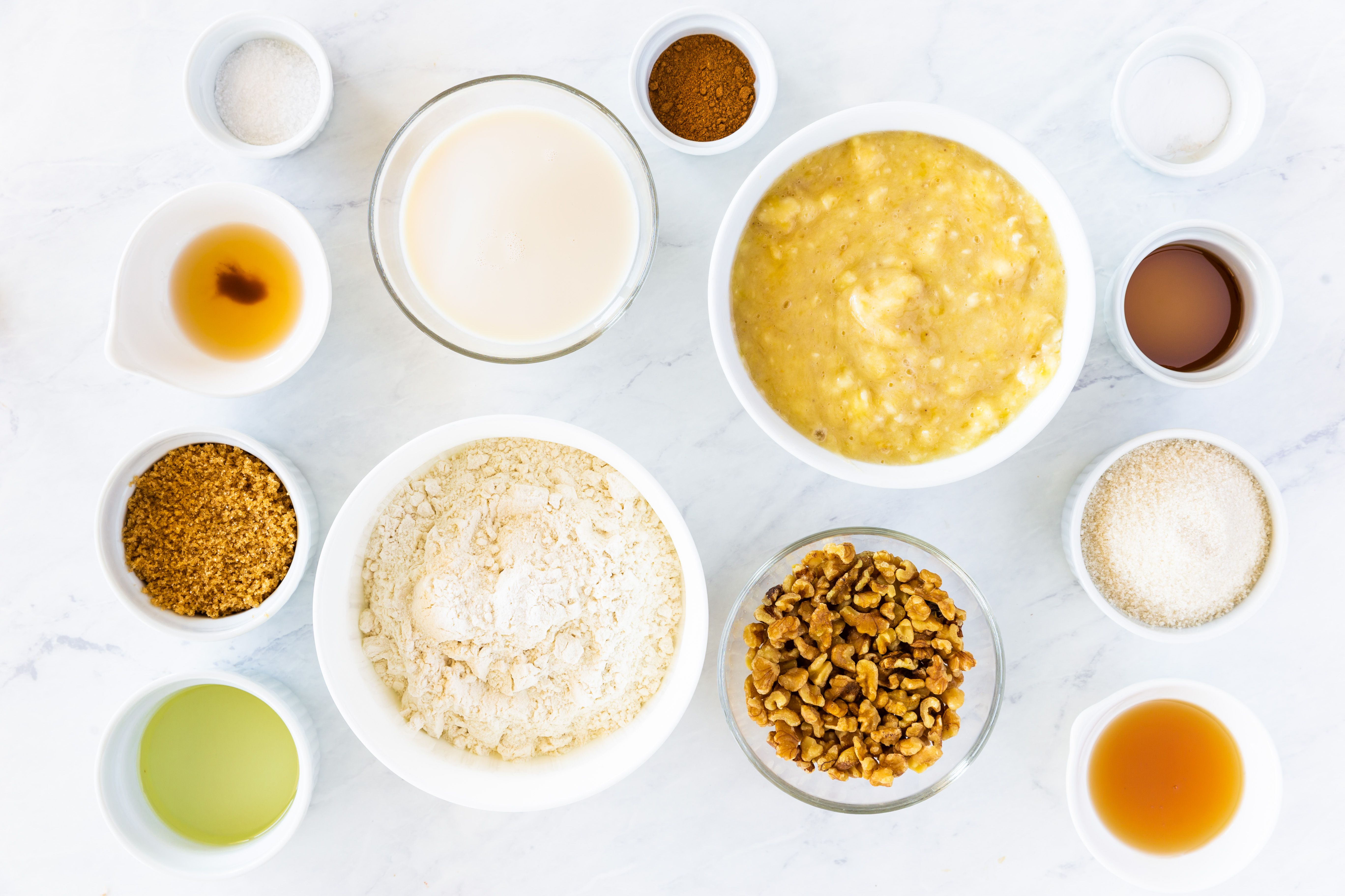 Ingredients for vegan banana bread