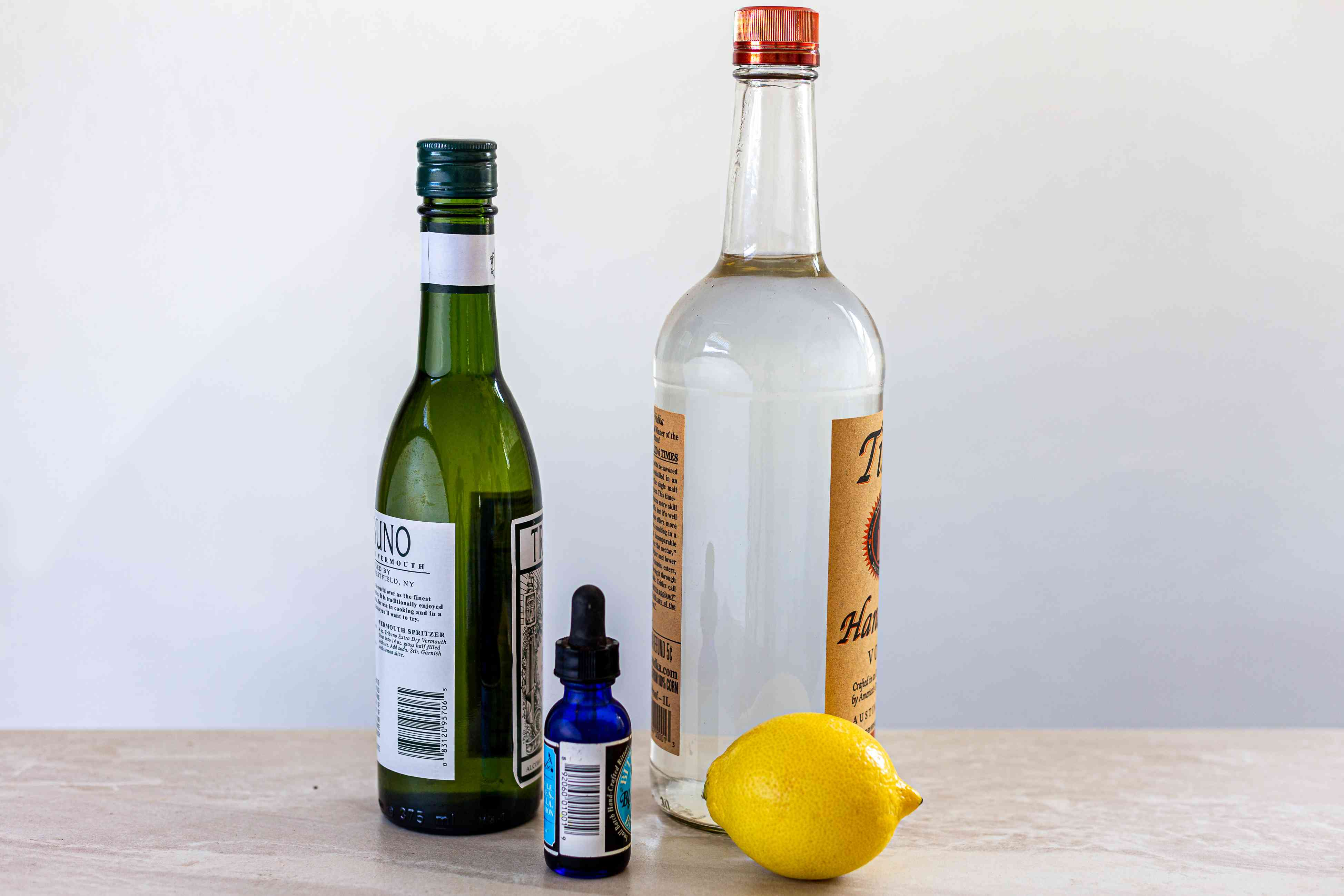 Ingredients for making a vodka martini