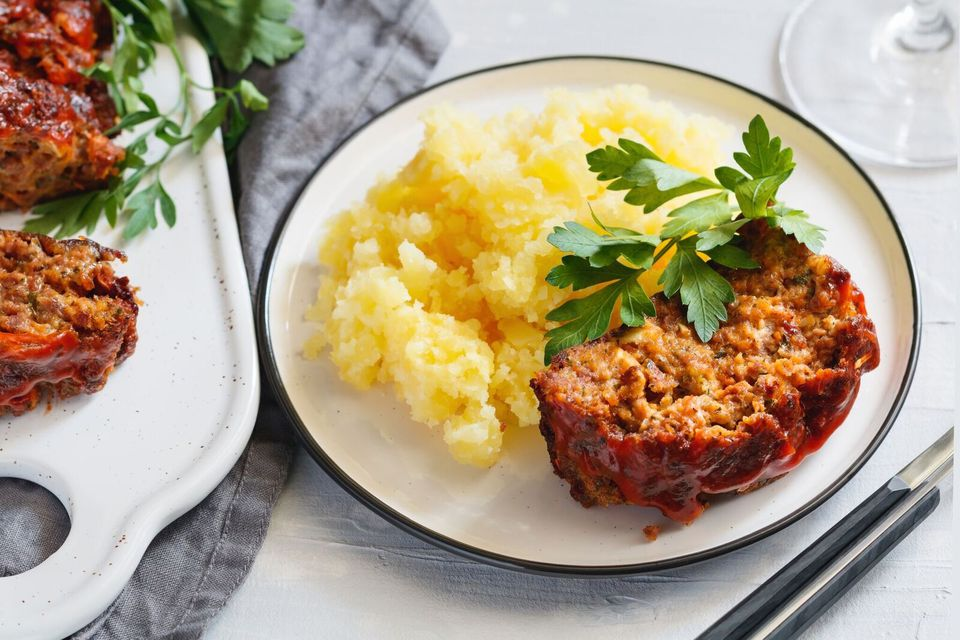 Onion soup meatloaf and mashed potatoes on a plate