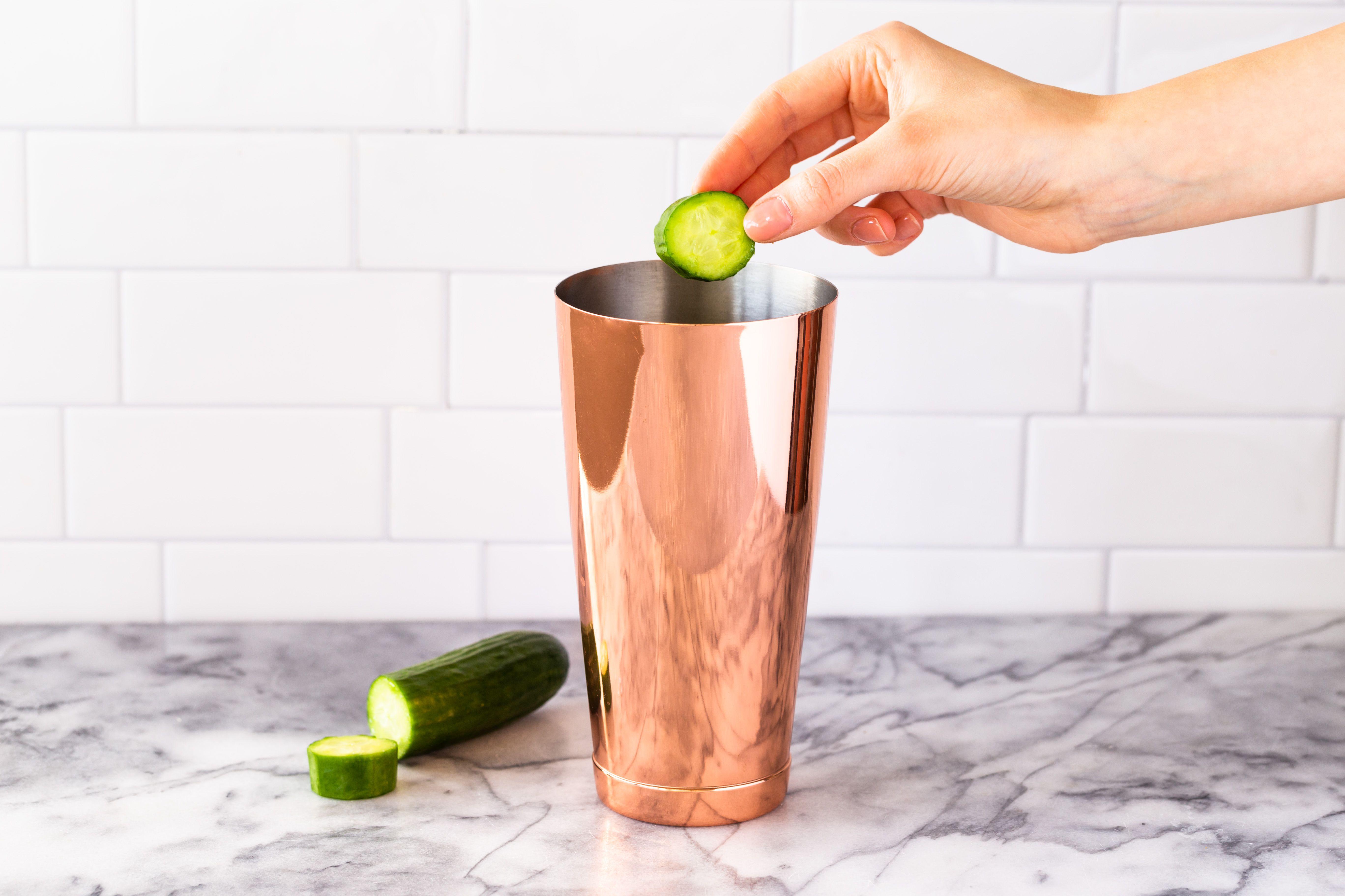 Drop cucumber in shaker