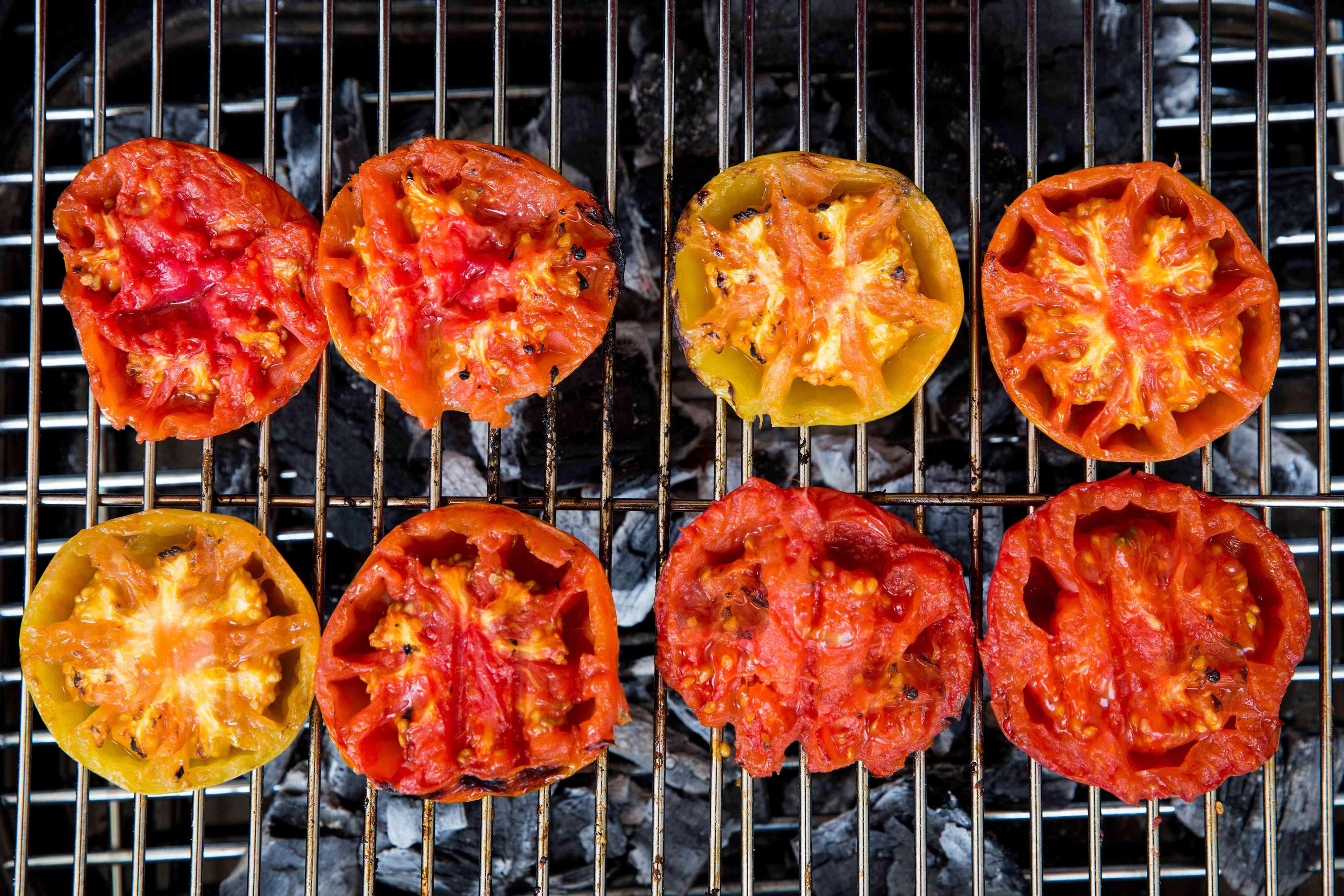 Tomatoes on the grill with grill marks