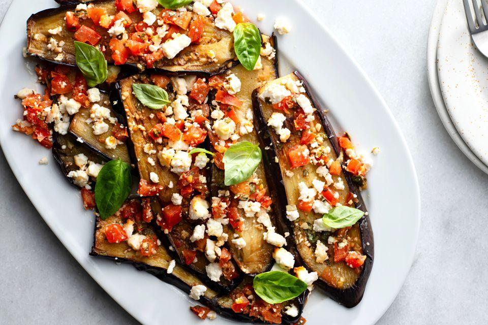 Melitzanes Me Feta: Baked Eggplant With Feta Cheese