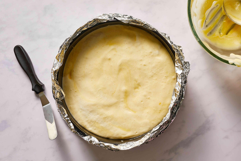batter in a prepared pan