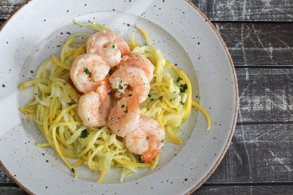 shrimp on summer squash noodles