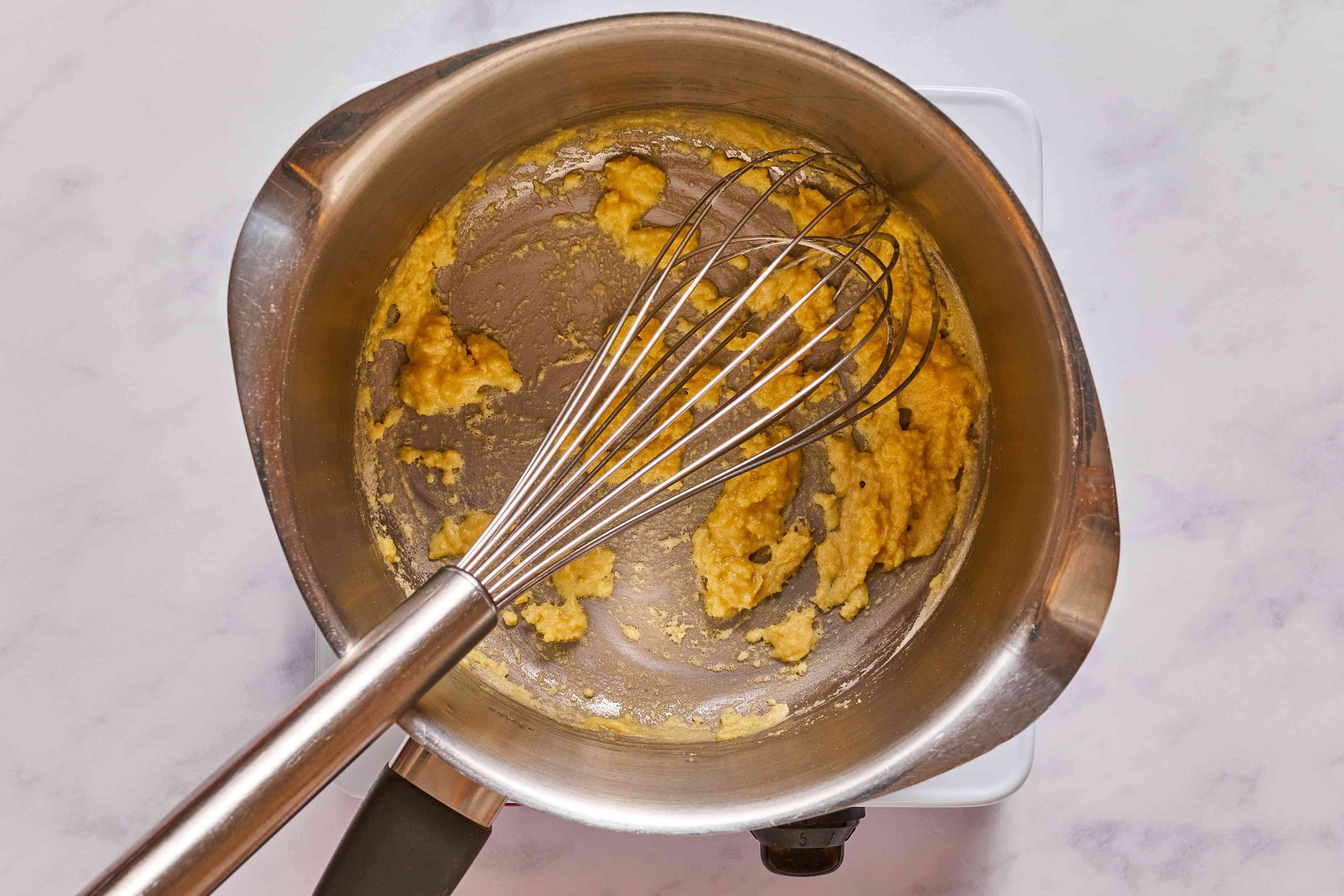 butter and flour in a saucepan