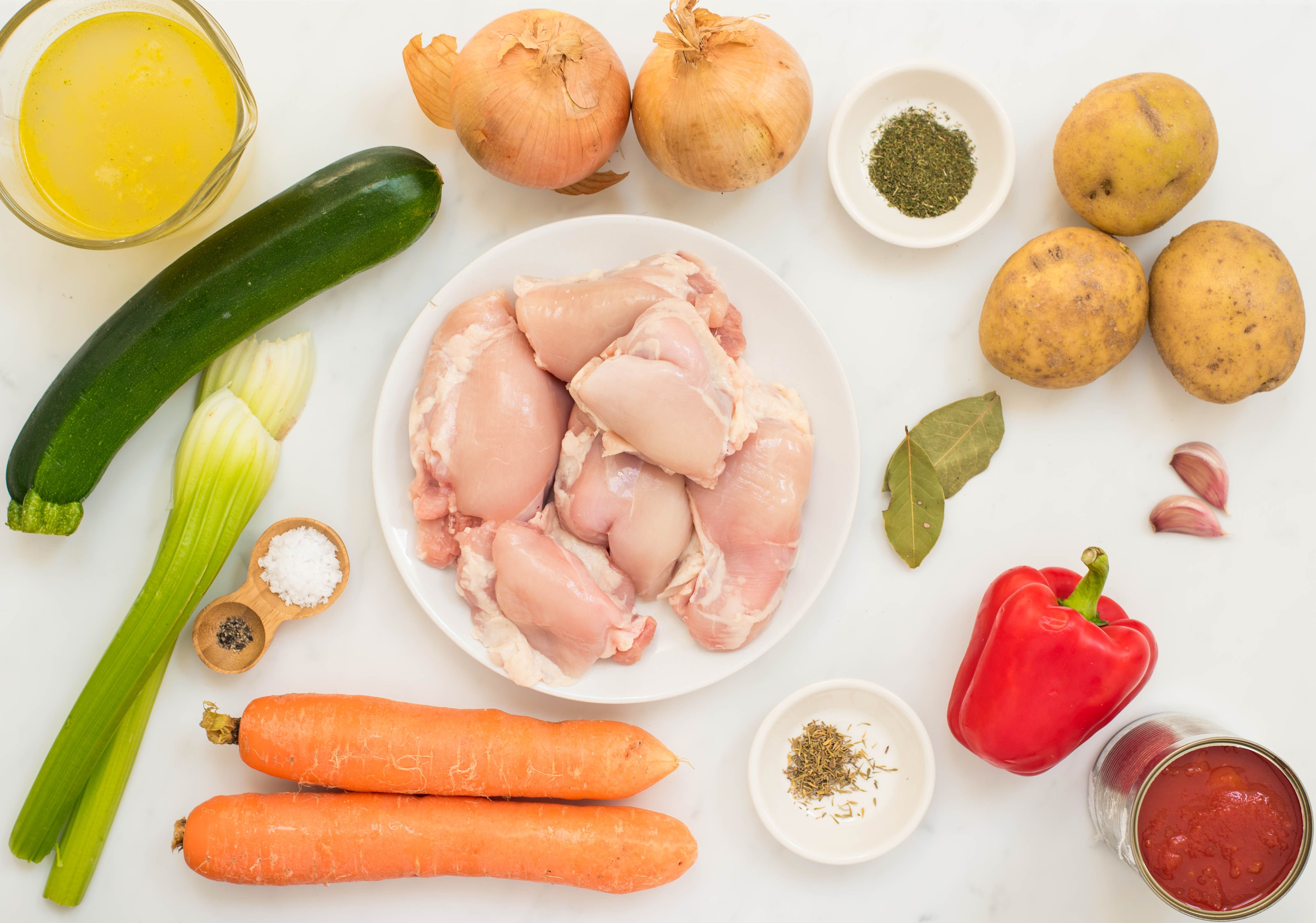Ingredients for chicken stew with vegetables