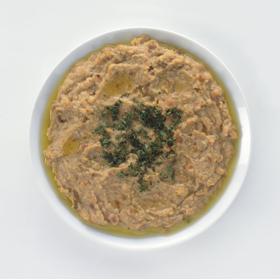 Bowl of Fuul, a traditional Egyptian dish of pureed fava beans