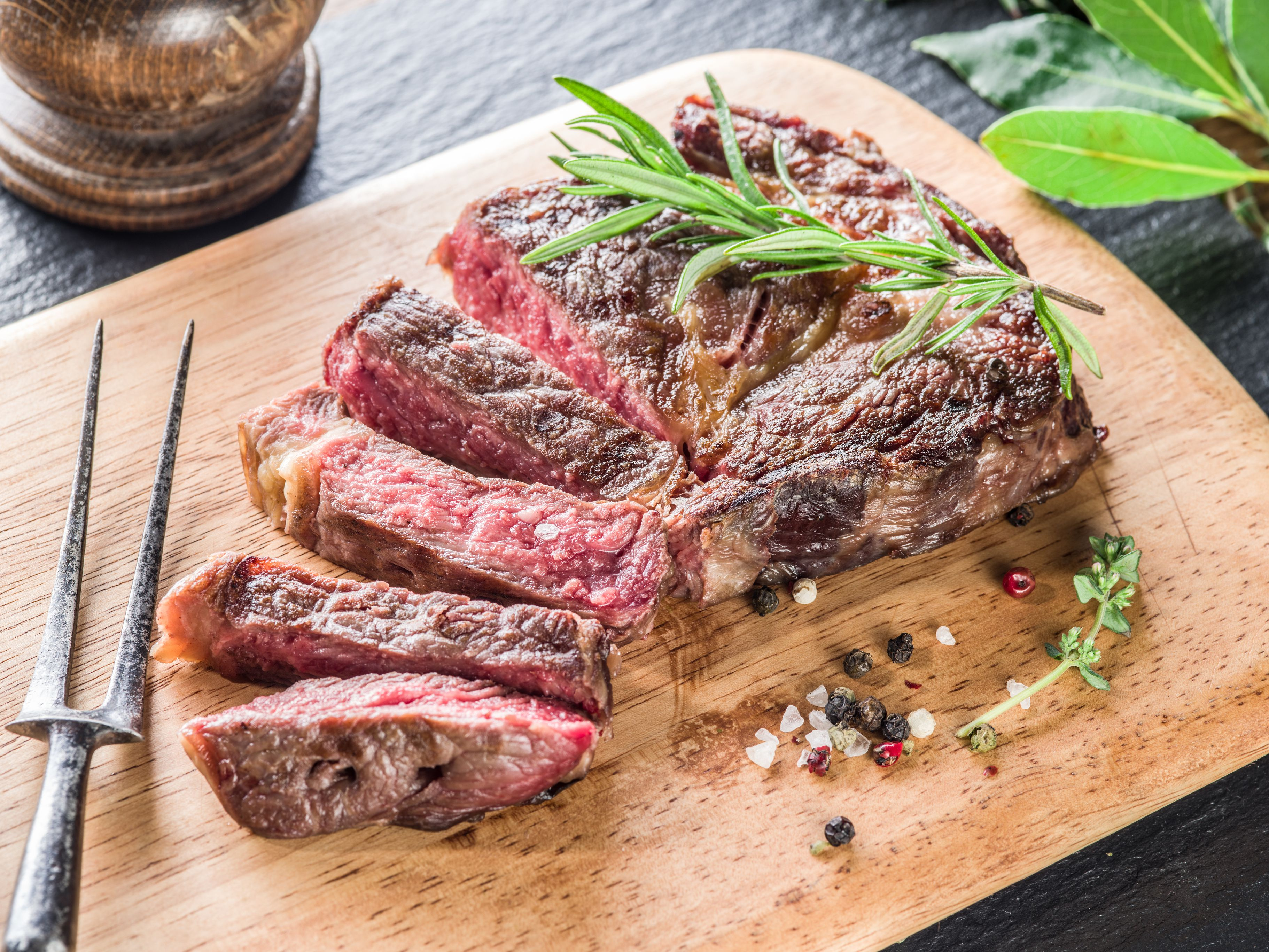 Medium Ribeye steak with spices.