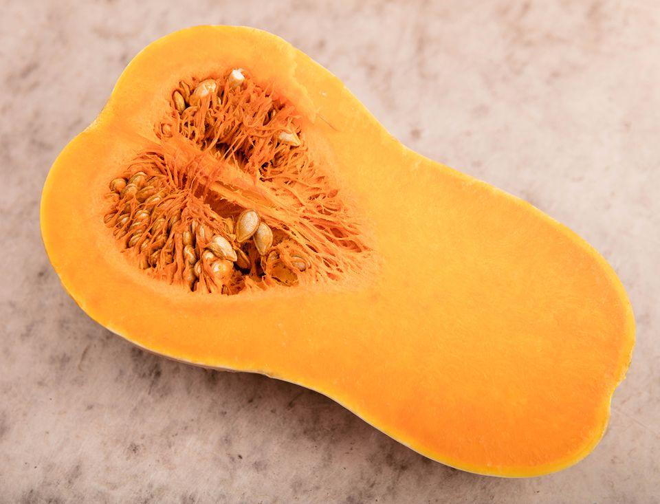 Butternut pumpkin. Cross section.