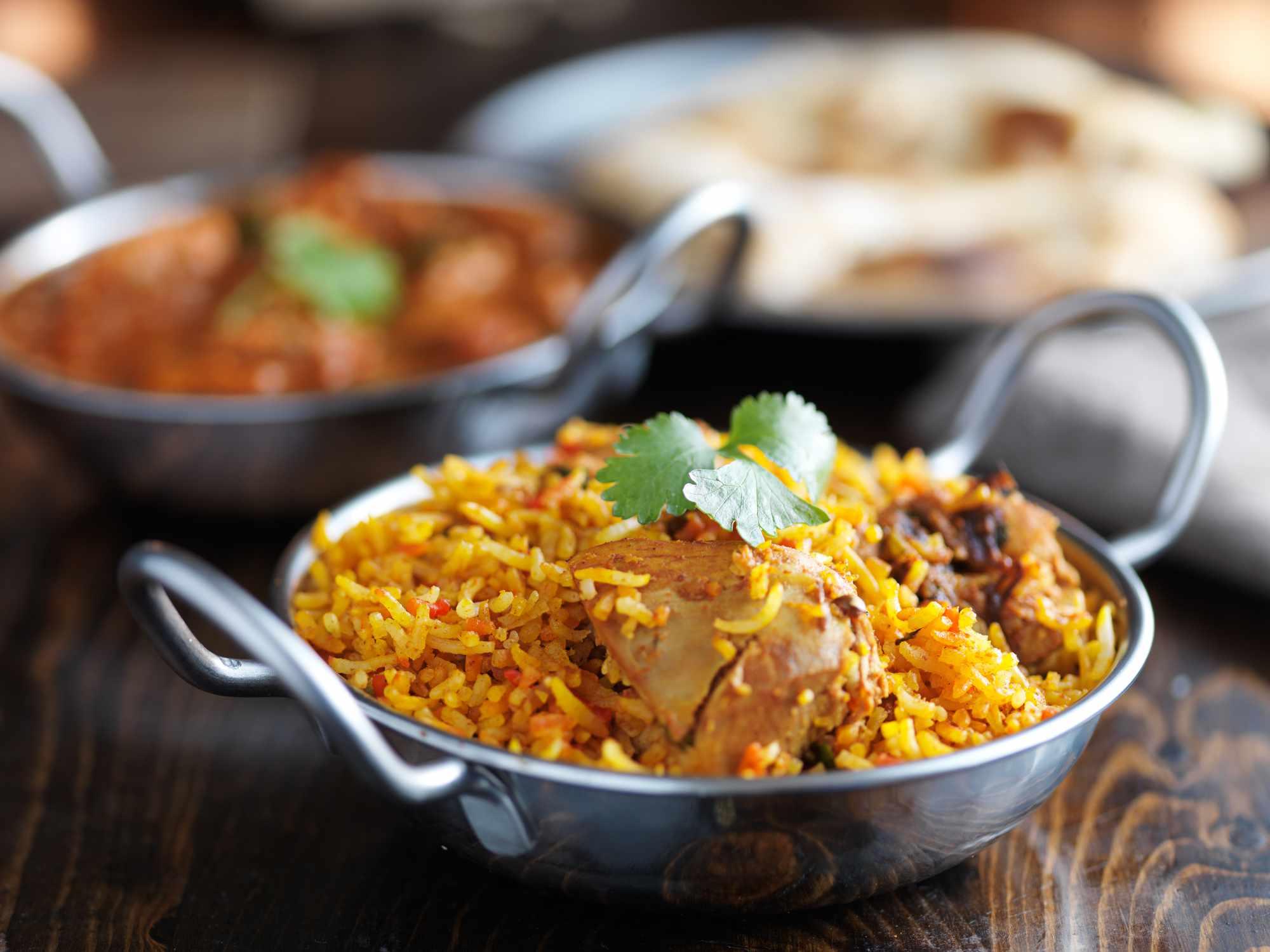 balti dish with indian chicken biryani