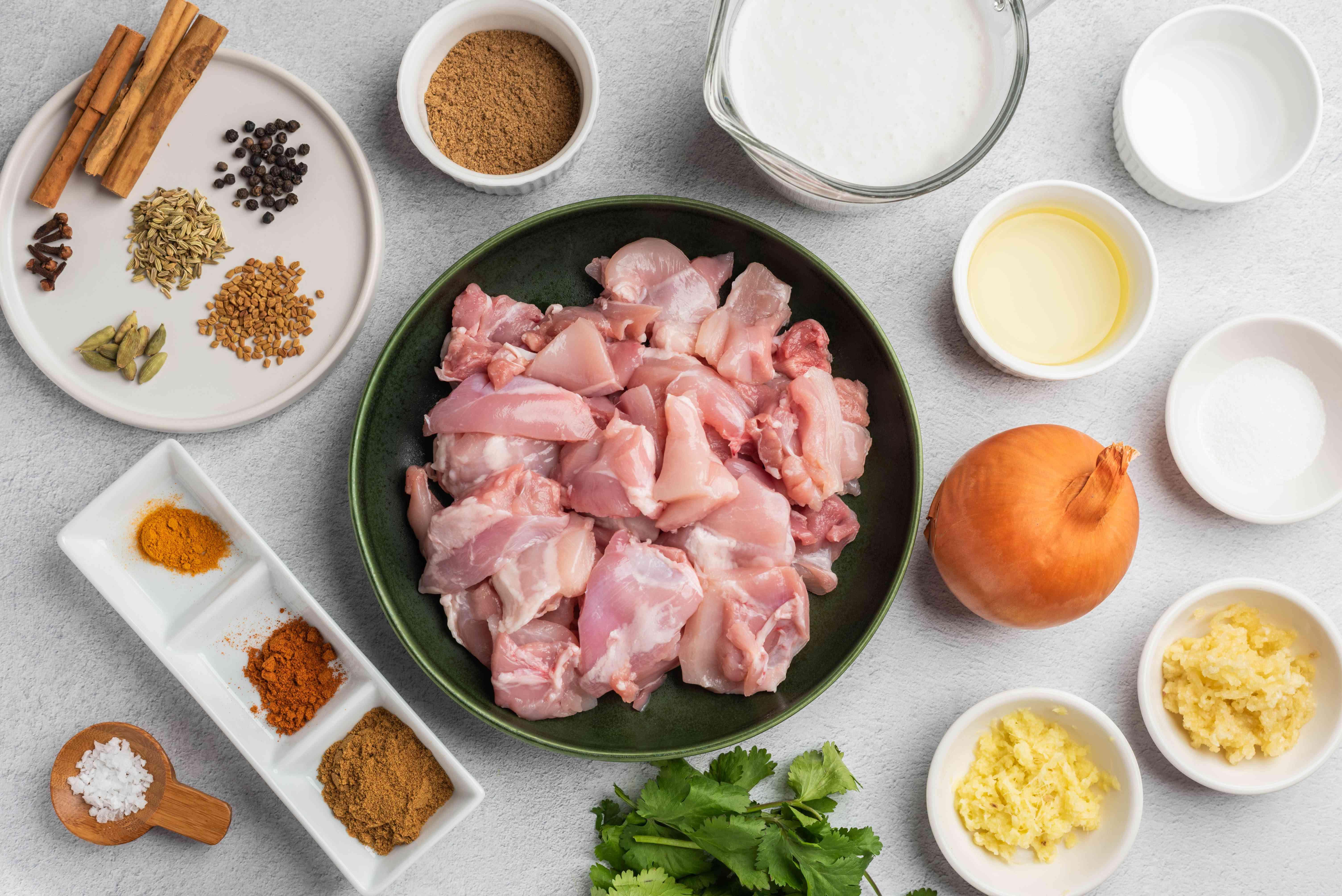 Ingredients for chicken sukka