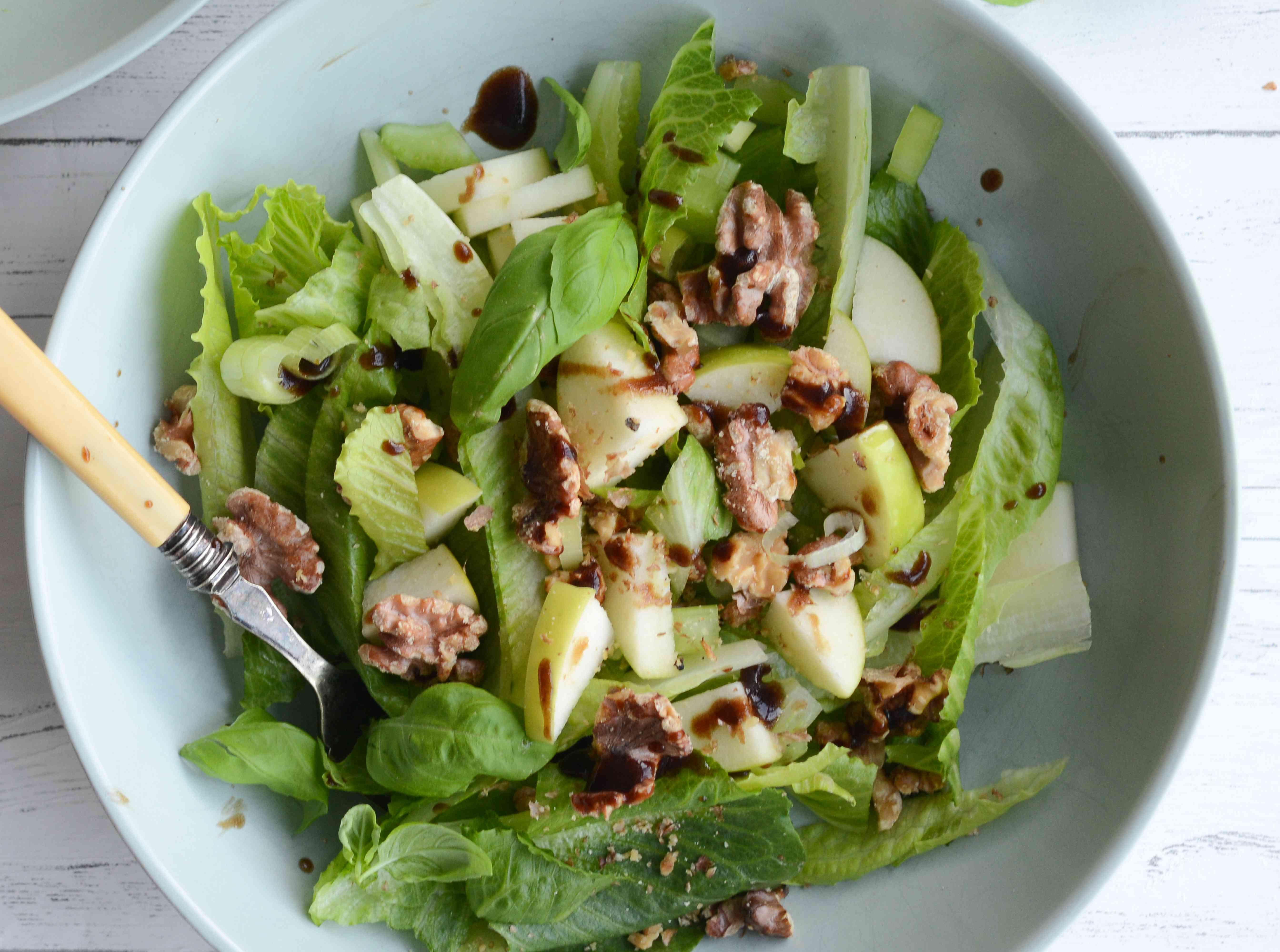 Serve the apple and walnut salad