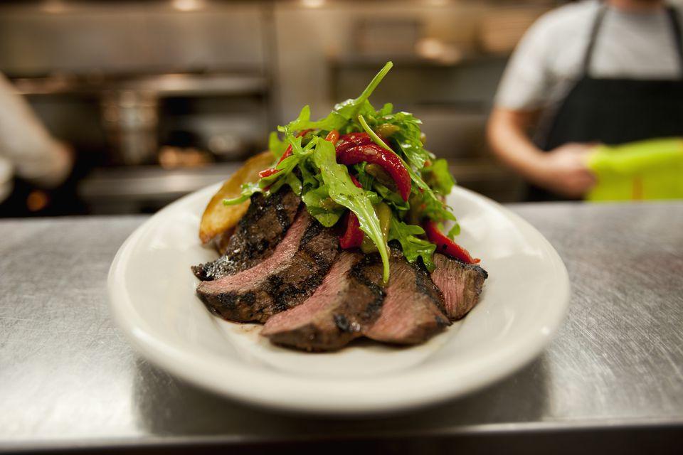 Flat iron steak with salad