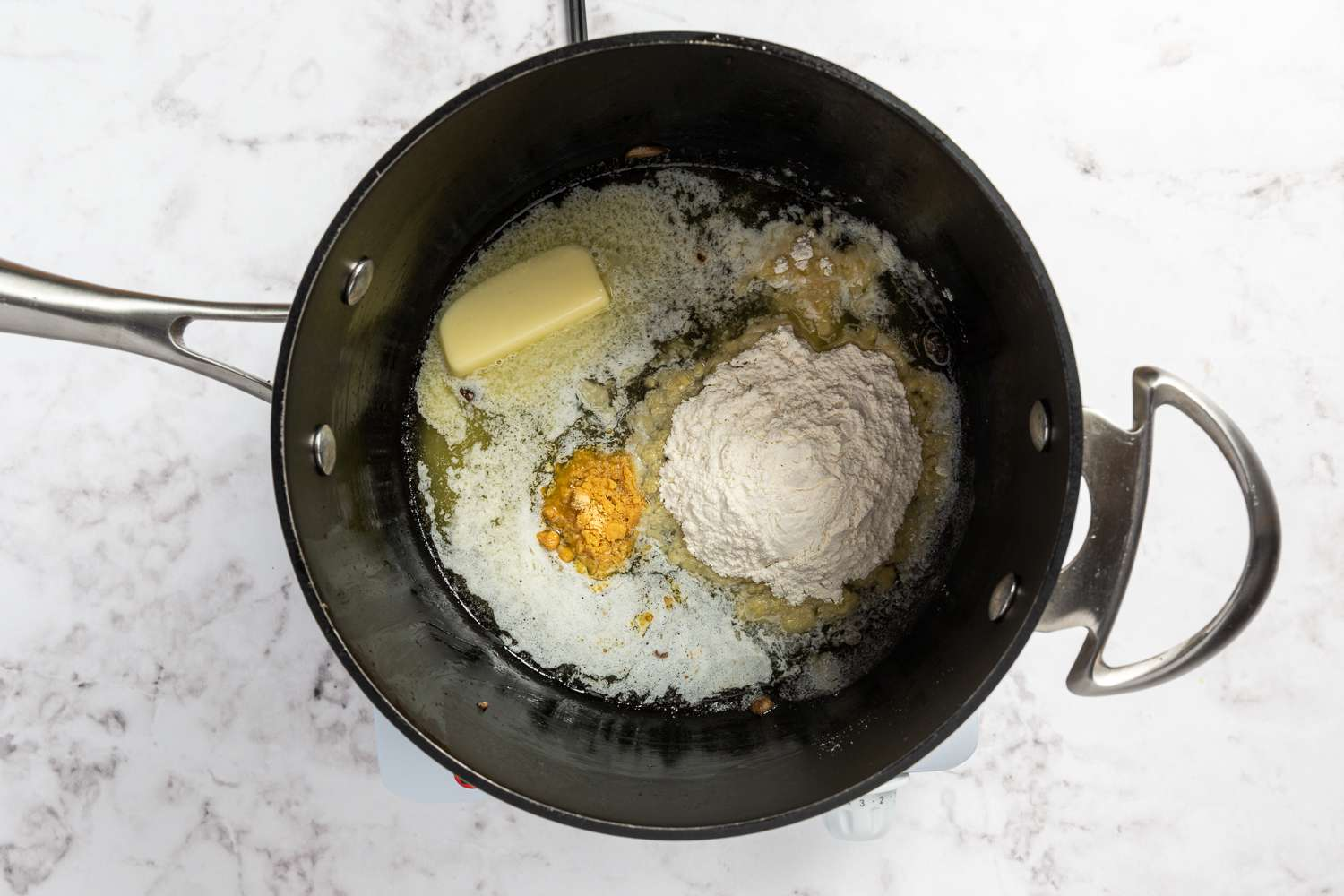 butter, flour and dry mustard in a saucepan