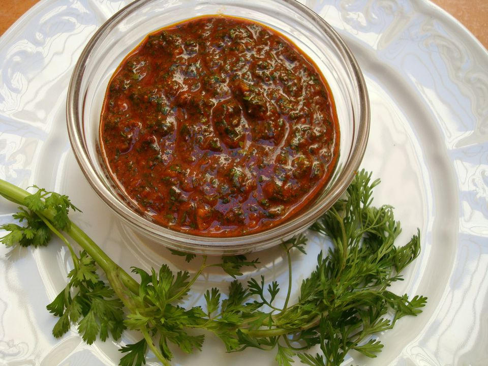 A bowl of chermoula Moroccan marinade