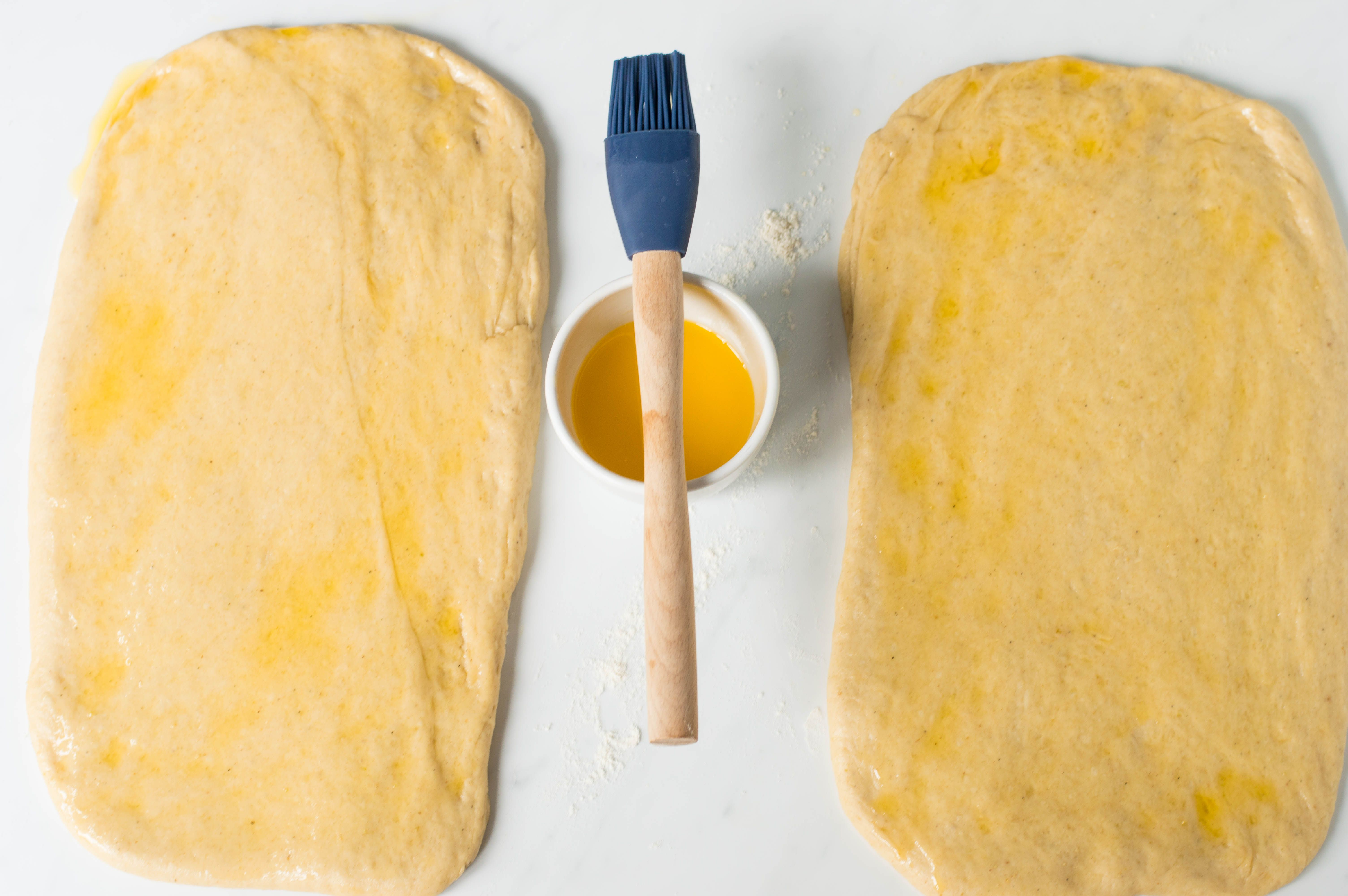 Rolled-out dough brushed with butter