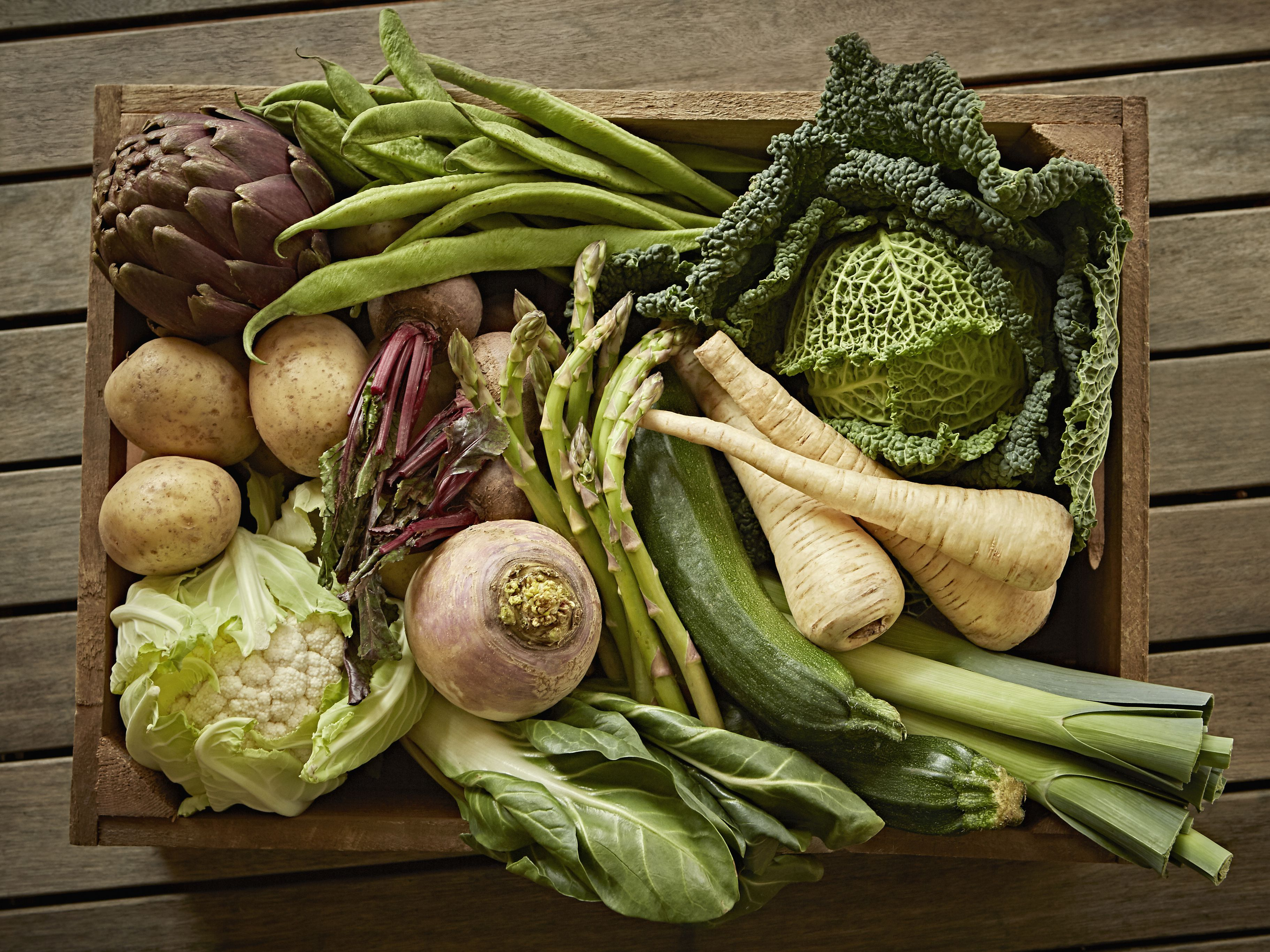 Vegetable harvest variety in a wood crate