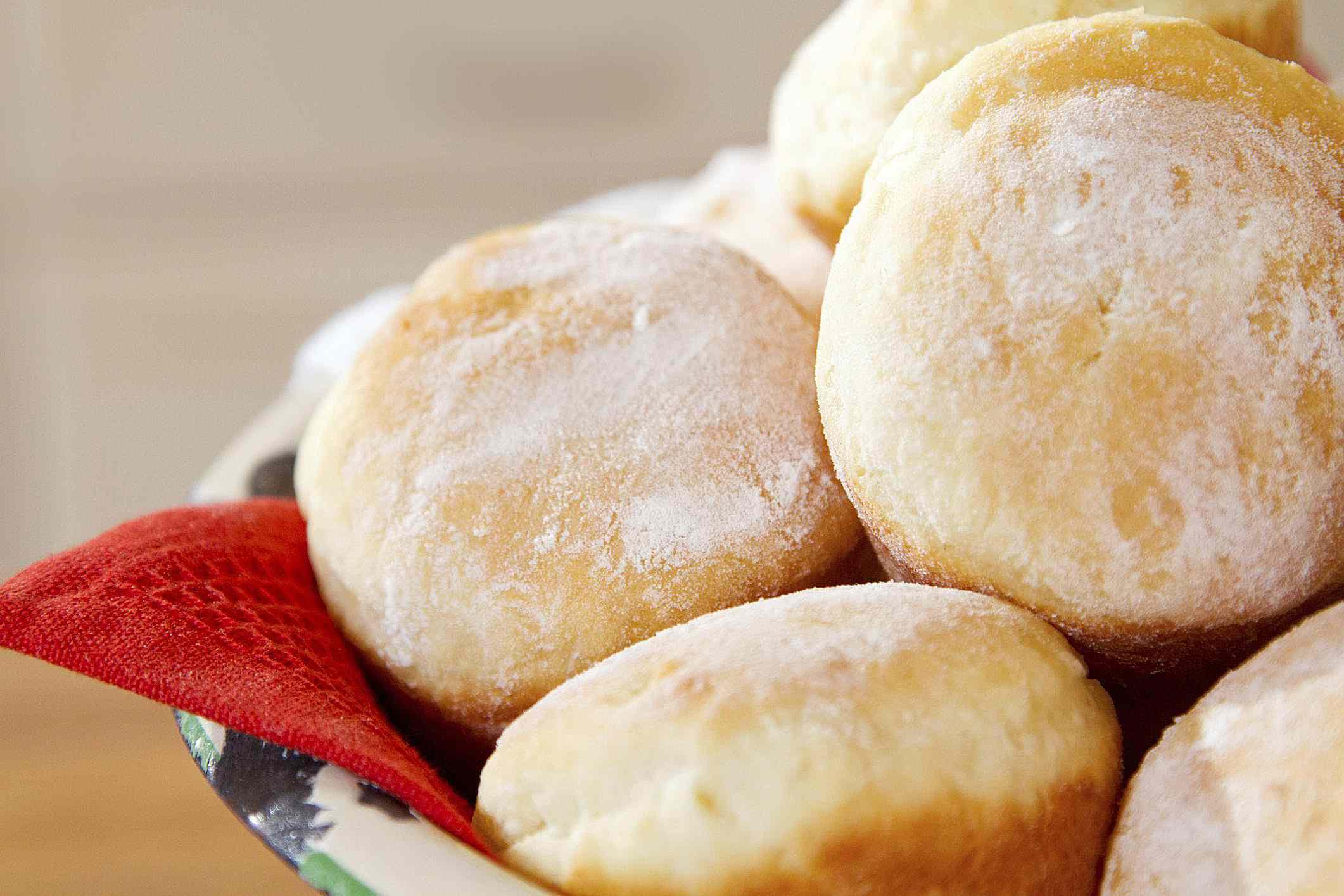 Freshly baked butter rolls.