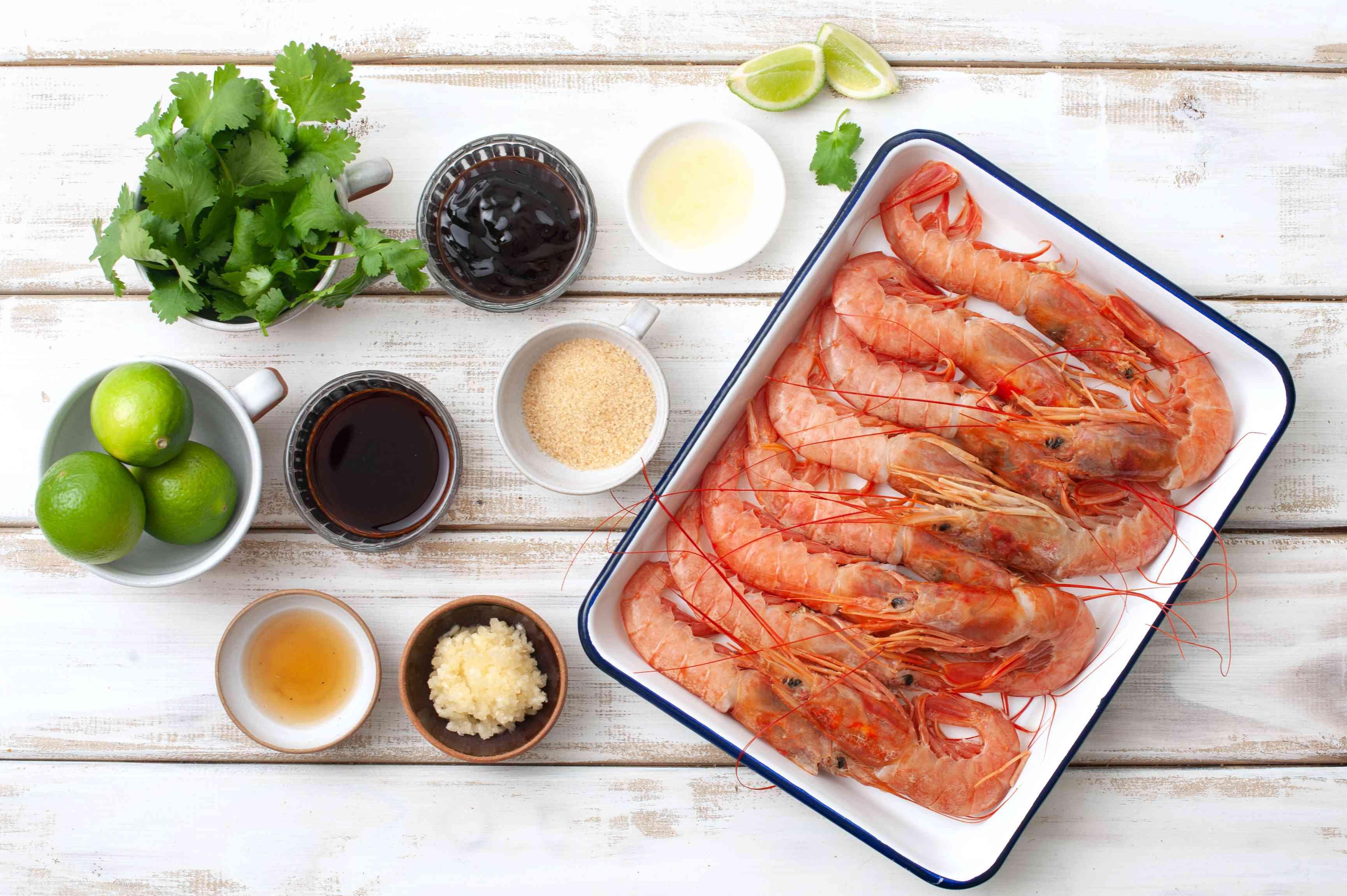 Ingredients for BBQ Thai garlic shrimp