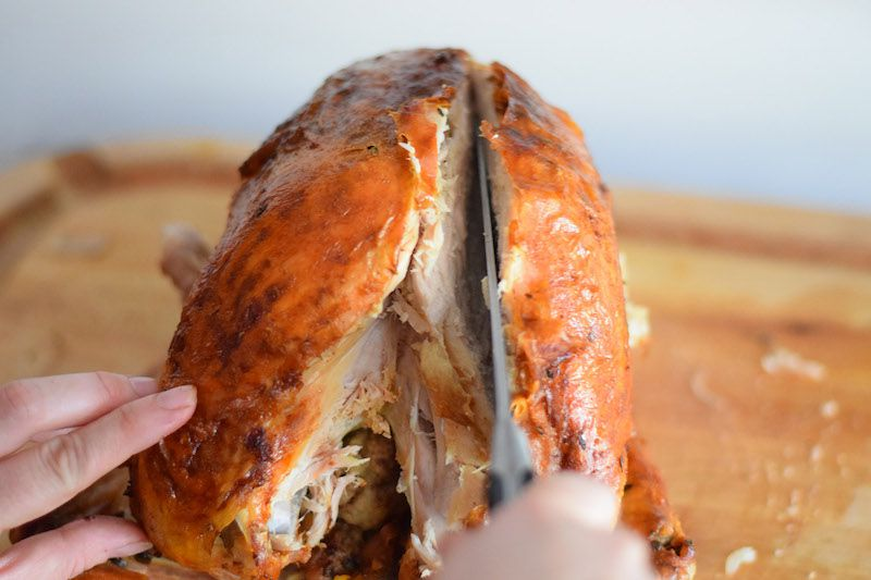 Removing breast from turkey