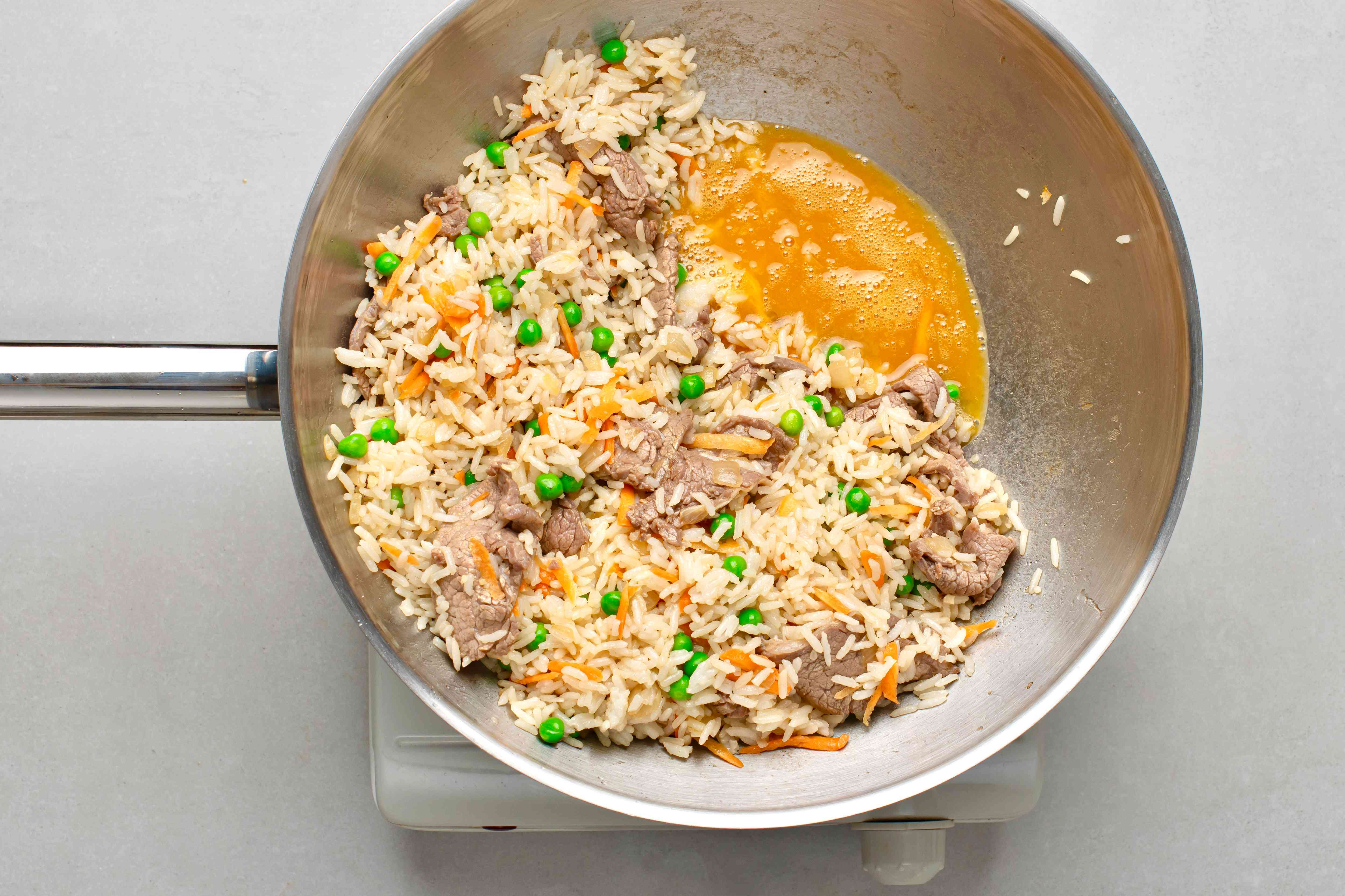 add egg to the beef and rice mixture