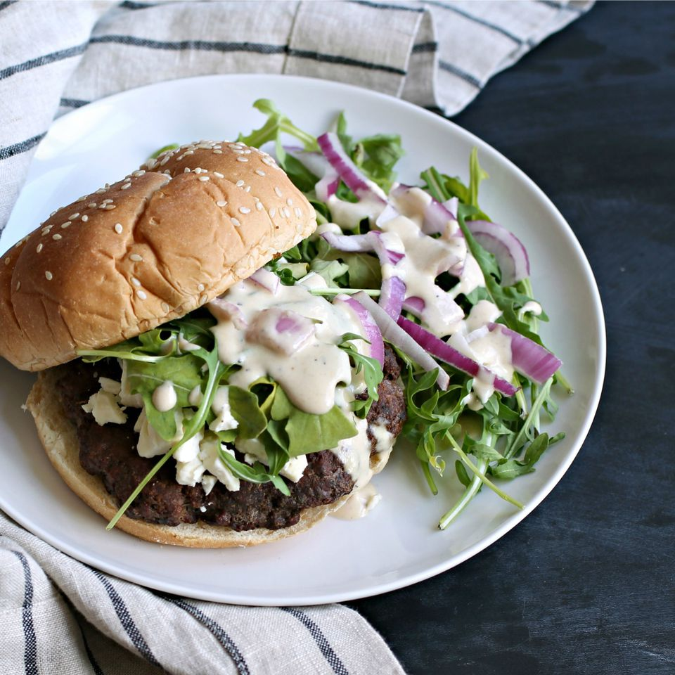 A plate with a middle eastern spiced burger