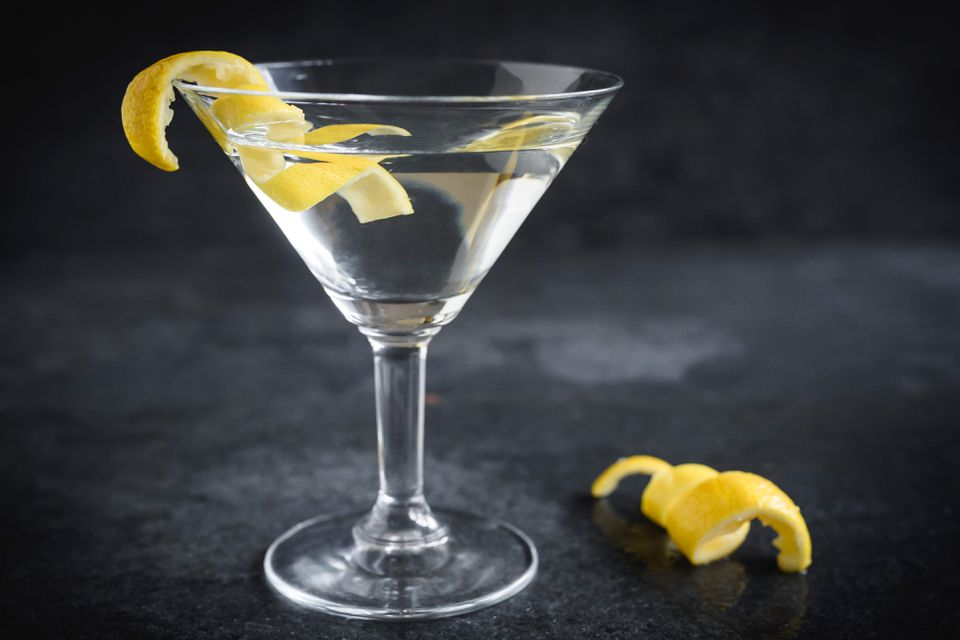 Vodka martini in a glass with a twist of lemon