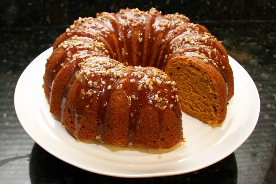 Pumpkin Pound Cake With Maple Pecan Glaze on white plate