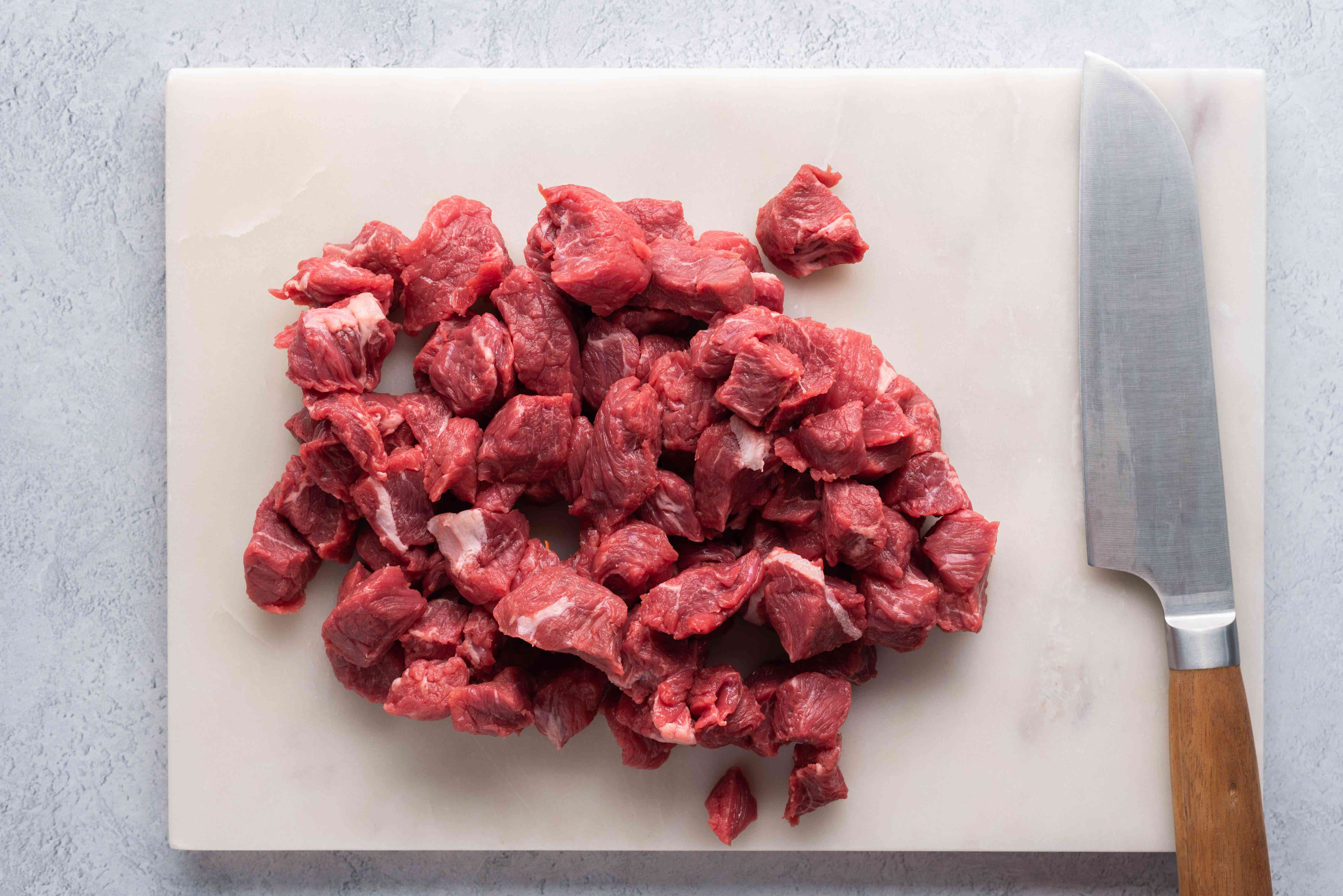 beef cut into pieces