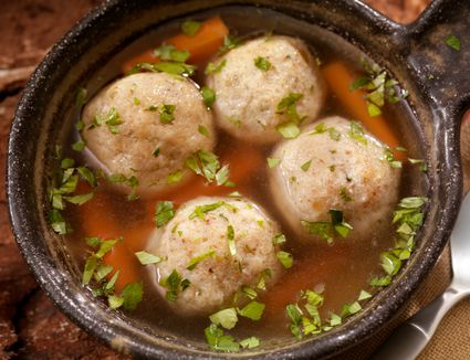 A heaping, hearty bowl of matzah ball soup