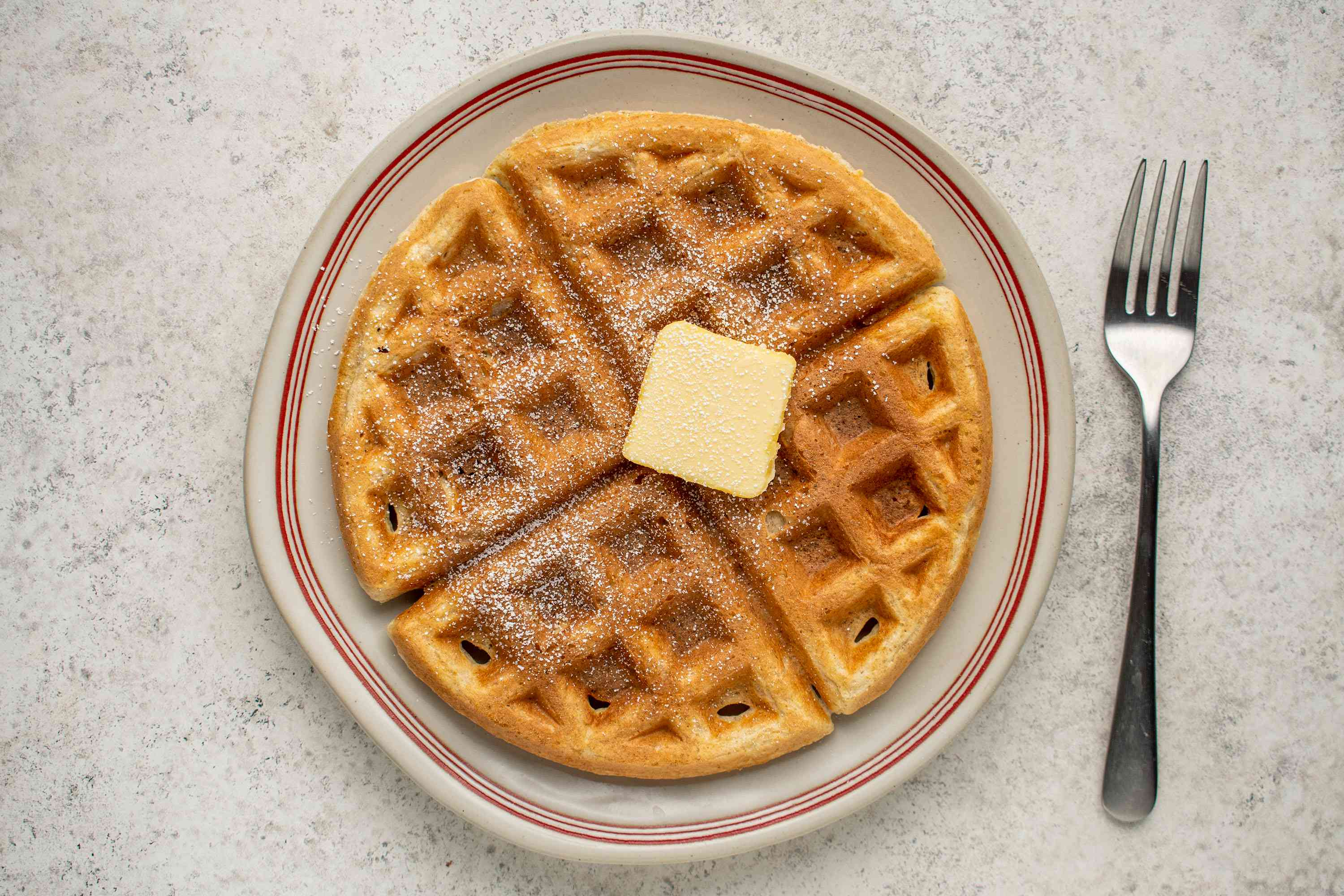 Sourdough Waffles with butter on a plate