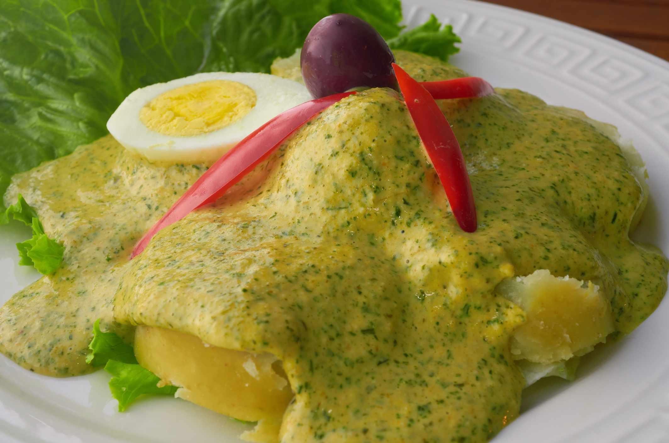 Ocopa Peruana, a traditional Peruvian dish with Huacatay