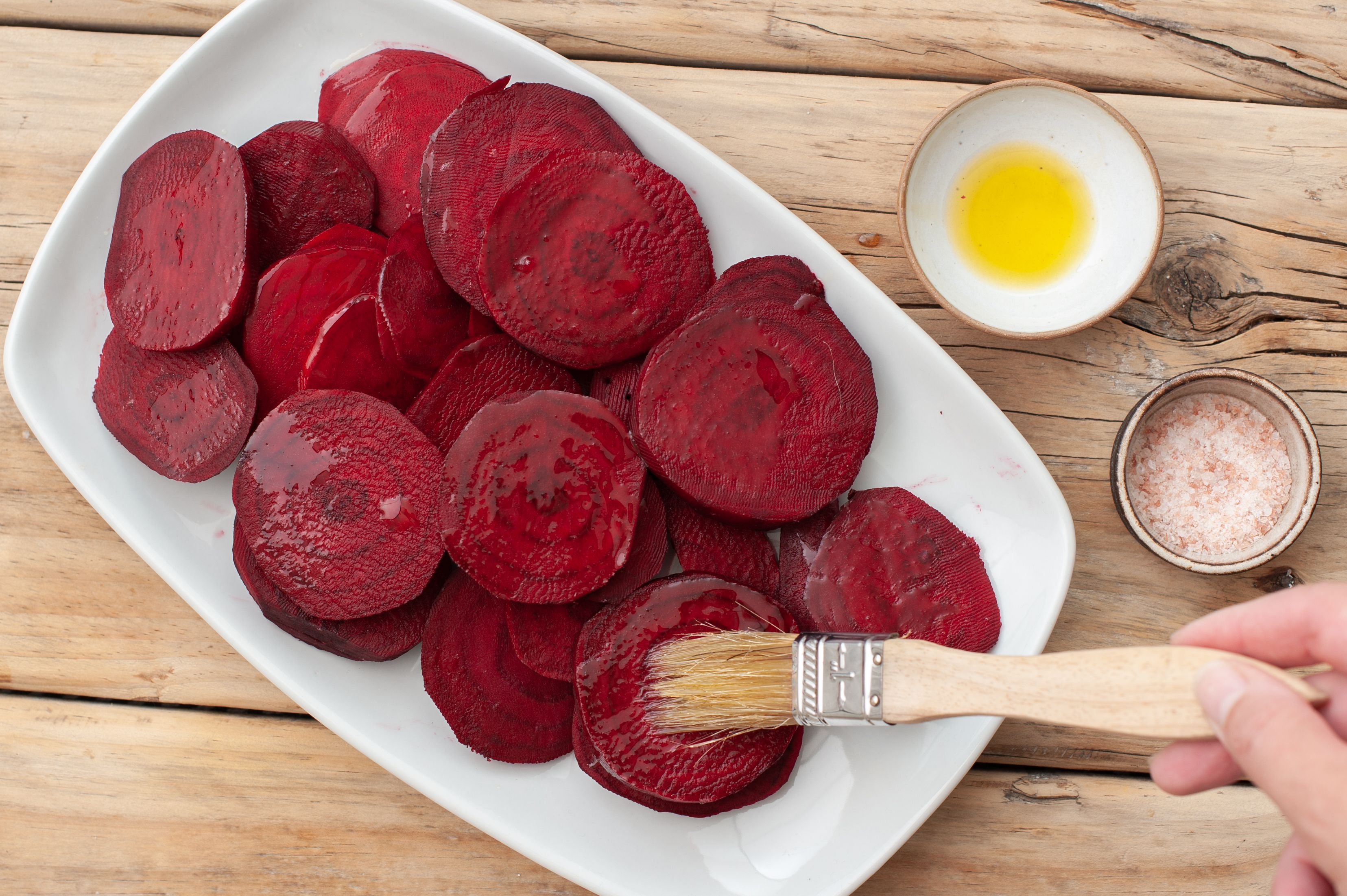 Beets brushed with olive oil