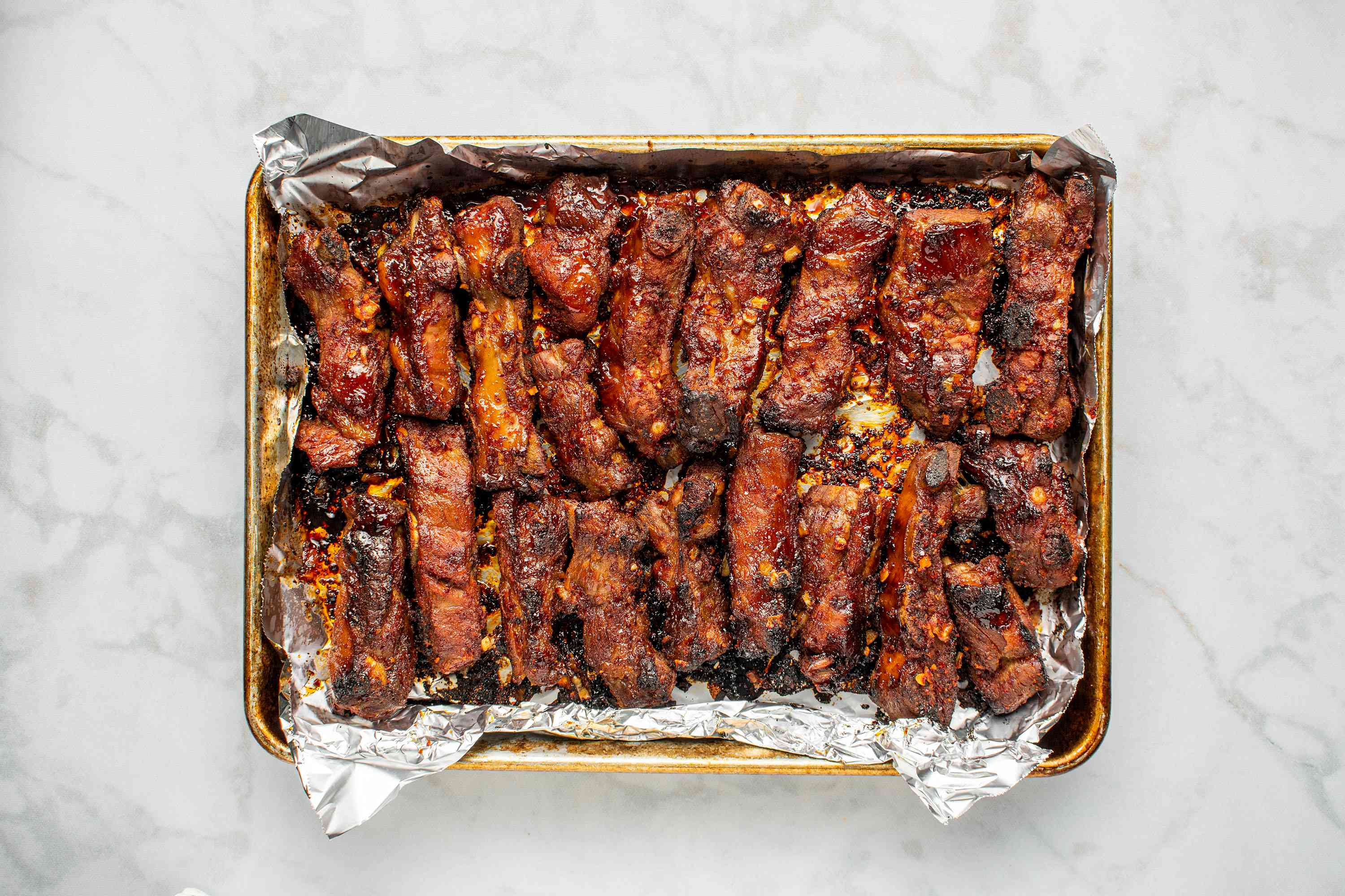 Korean Sweet and Spicy Pork Spareribs on a baking dish