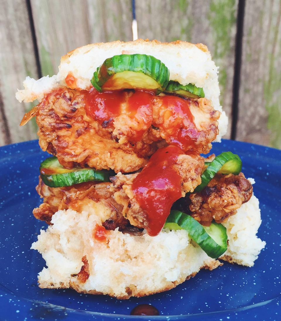 Spicy Fried Chicken Biscuit Sandwich
