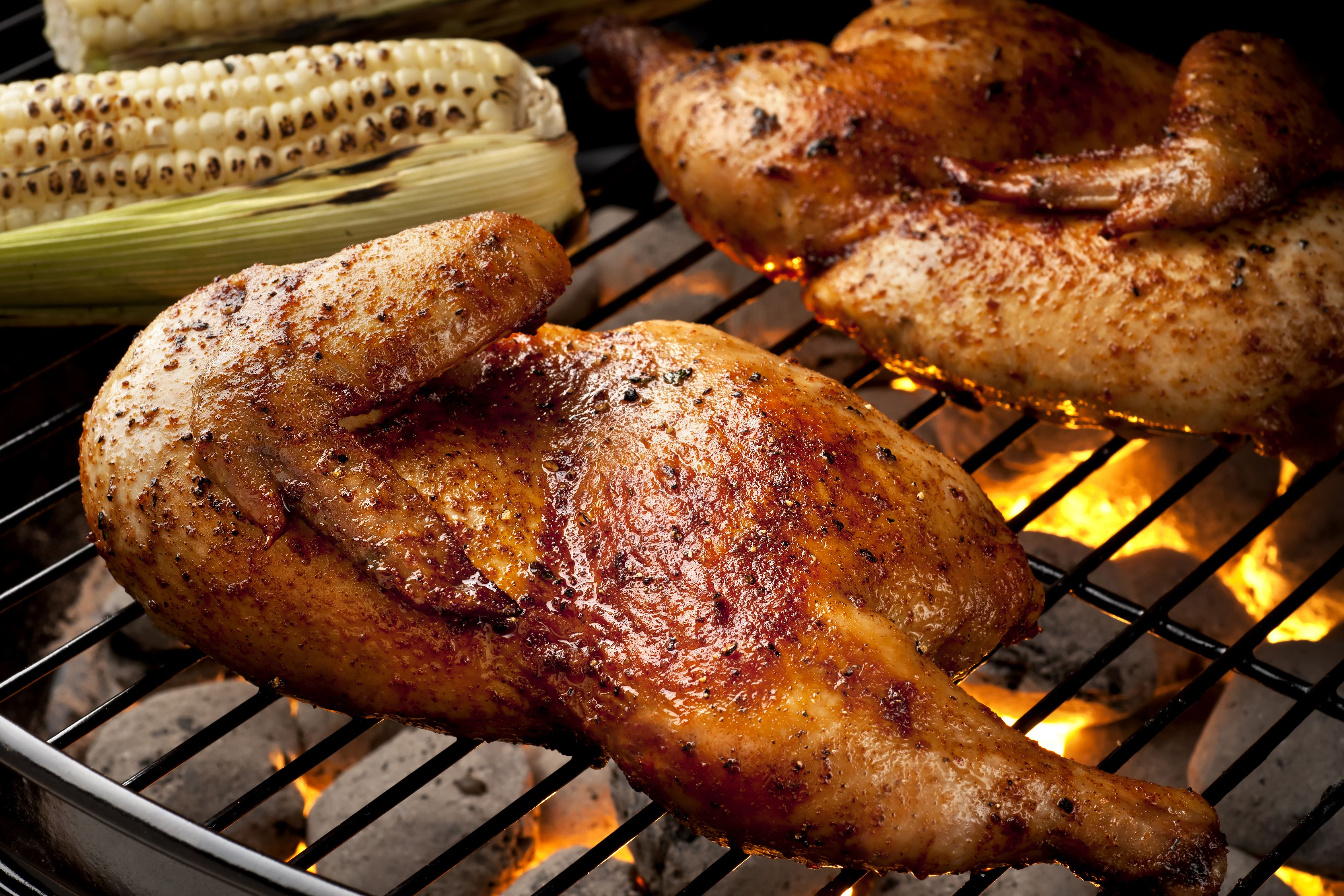 Cornell chicken halves on the grill.