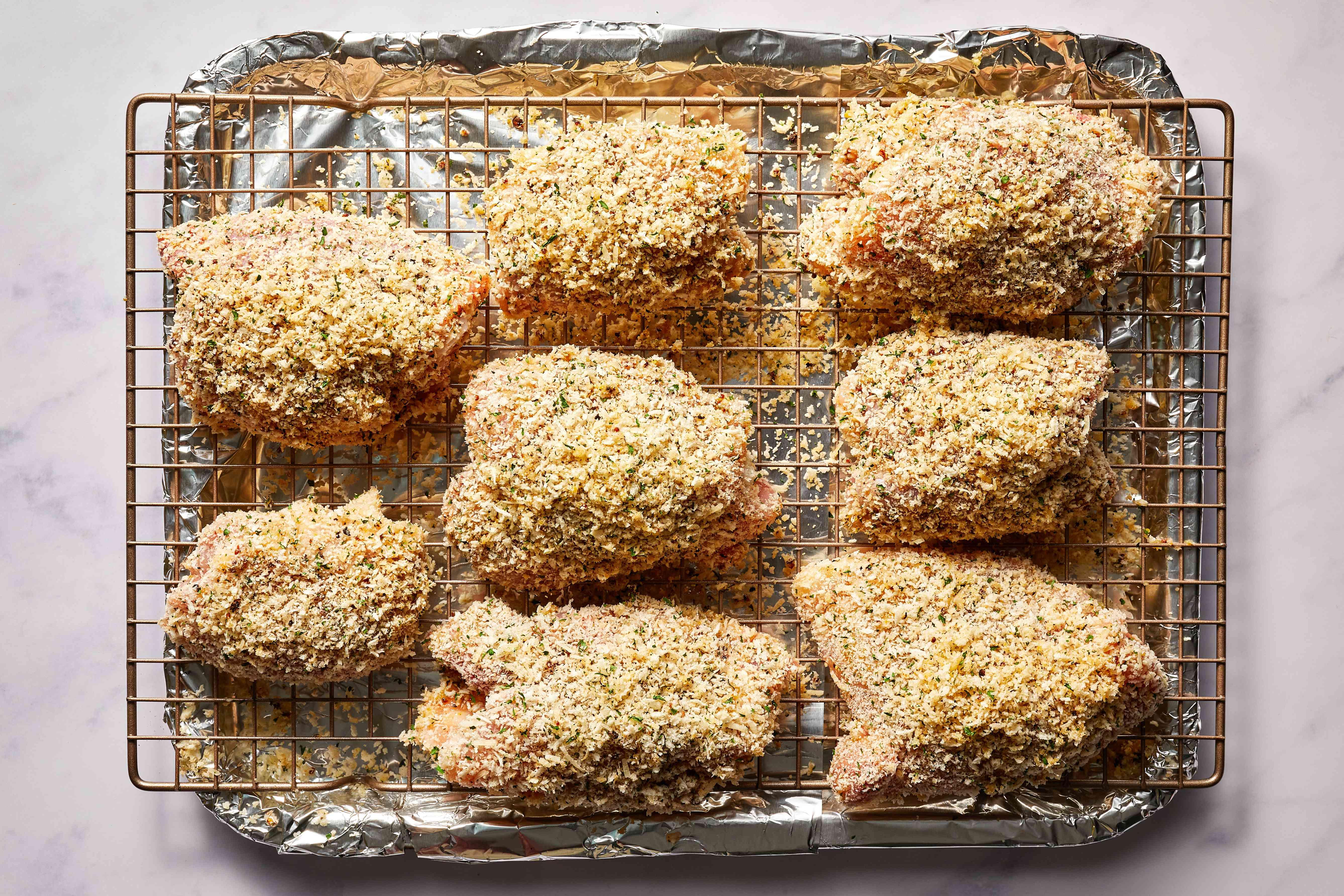 breaded chicken on a rack